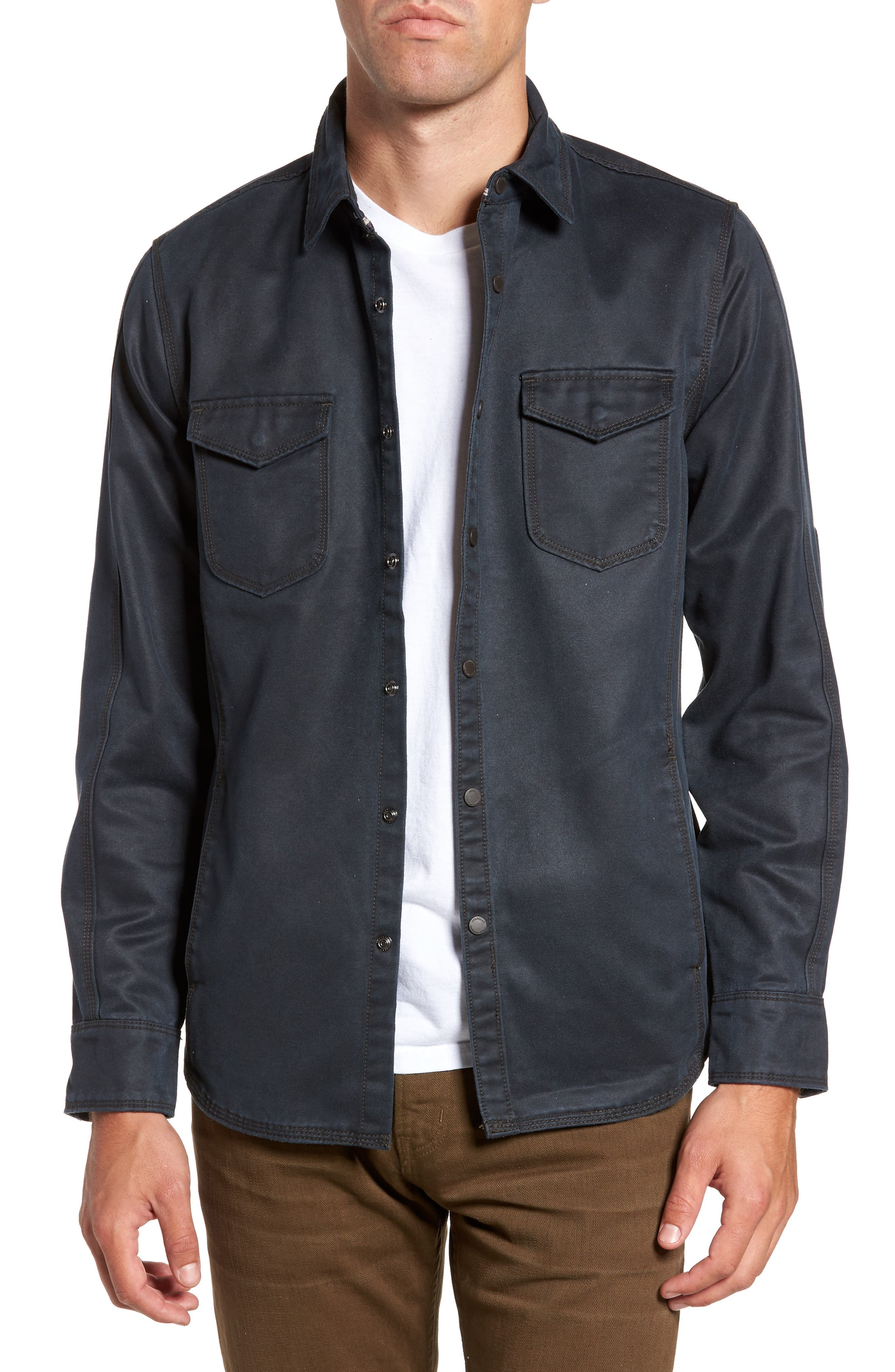 'Colt' Regular Fit Sueded Cotton Blend Shirt Jacket,                             Main thumbnail 1, color,                             INKWELL