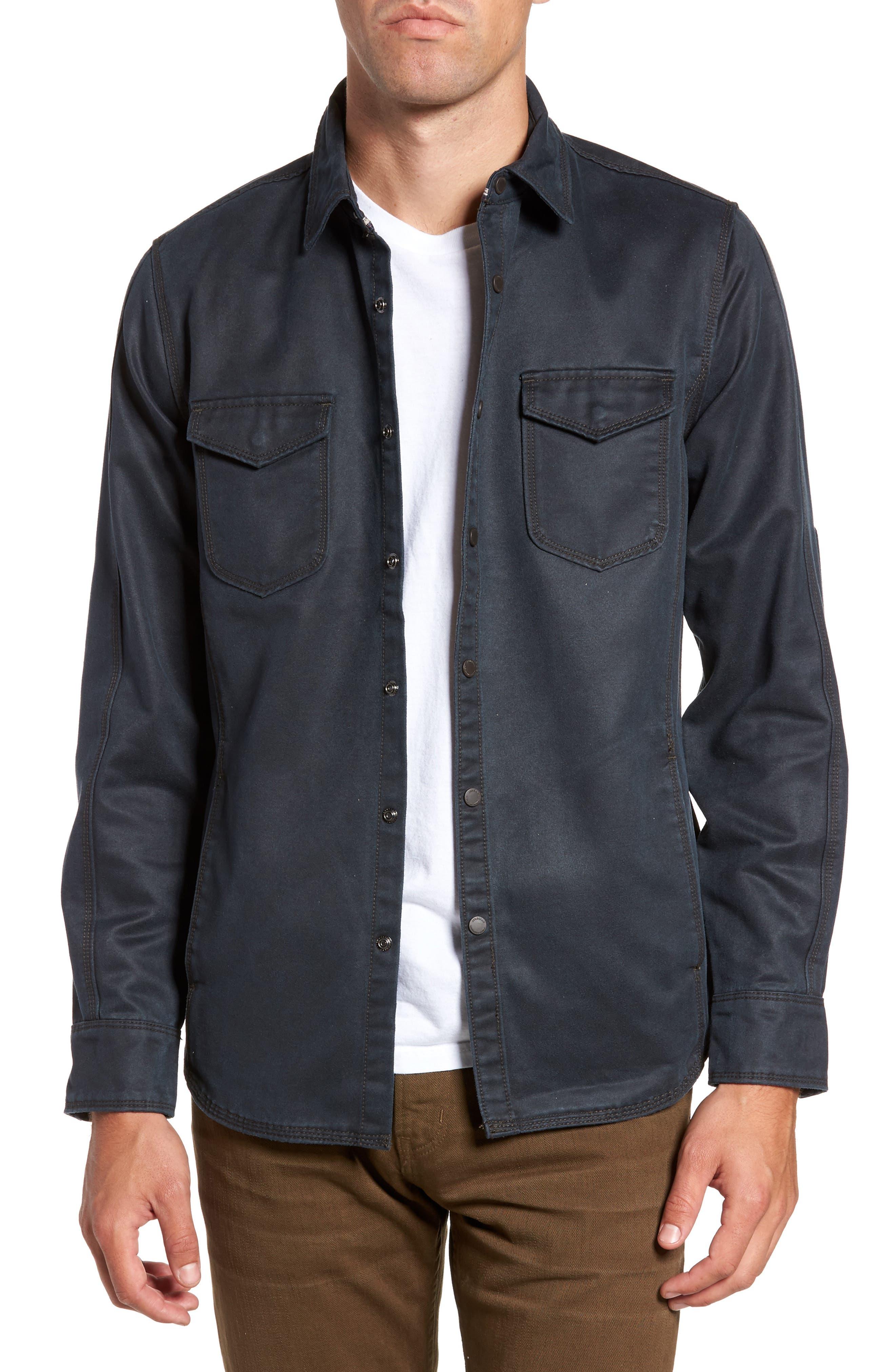 'Colt' Regular Fit Sueded Cotton Blend Shirt Jacket,                         Main,                         color, INKWELL