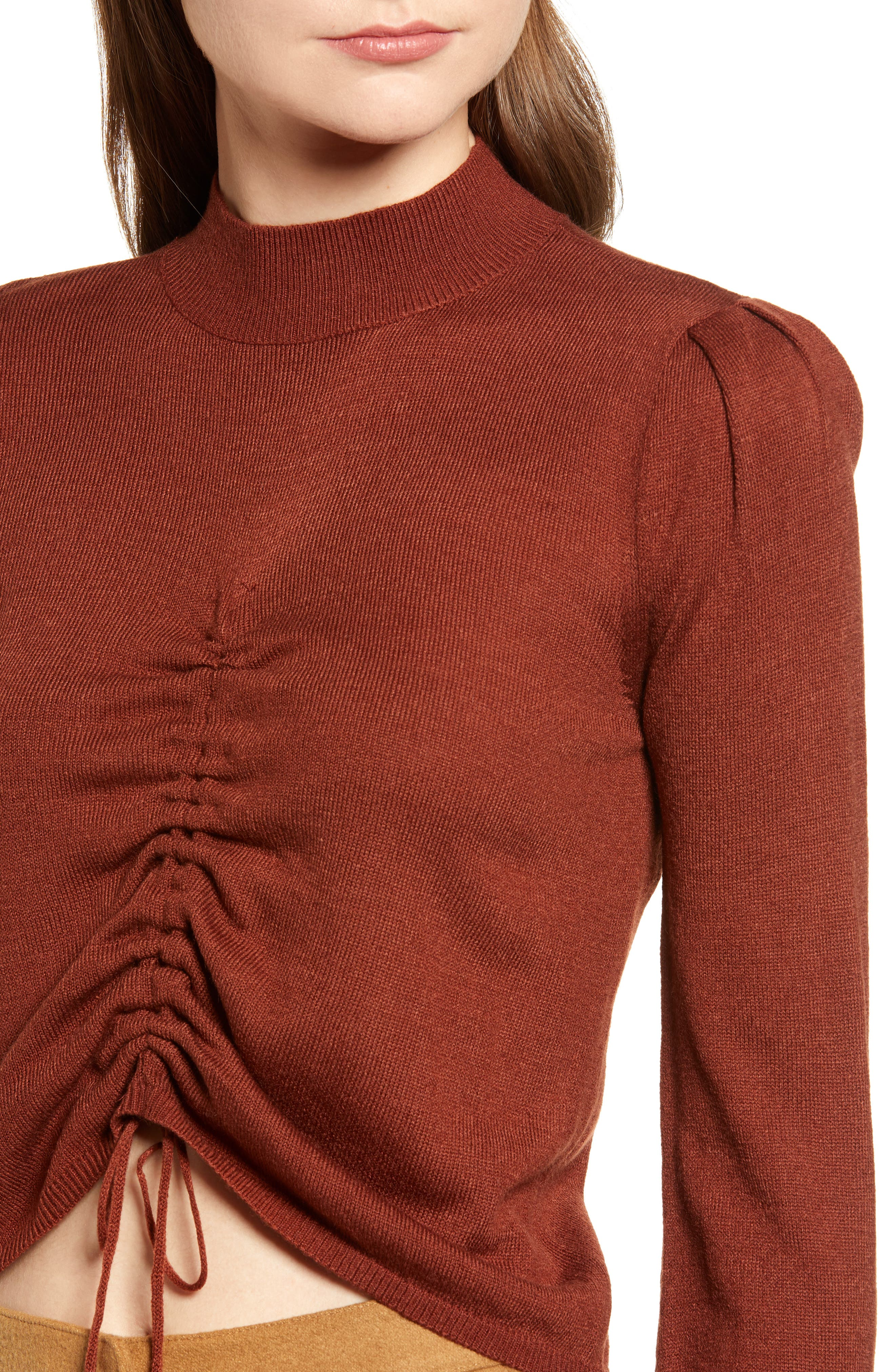 Chriselle Lim Madison Ruched Sweater,                             Alternate thumbnail 5, color,                             RUST