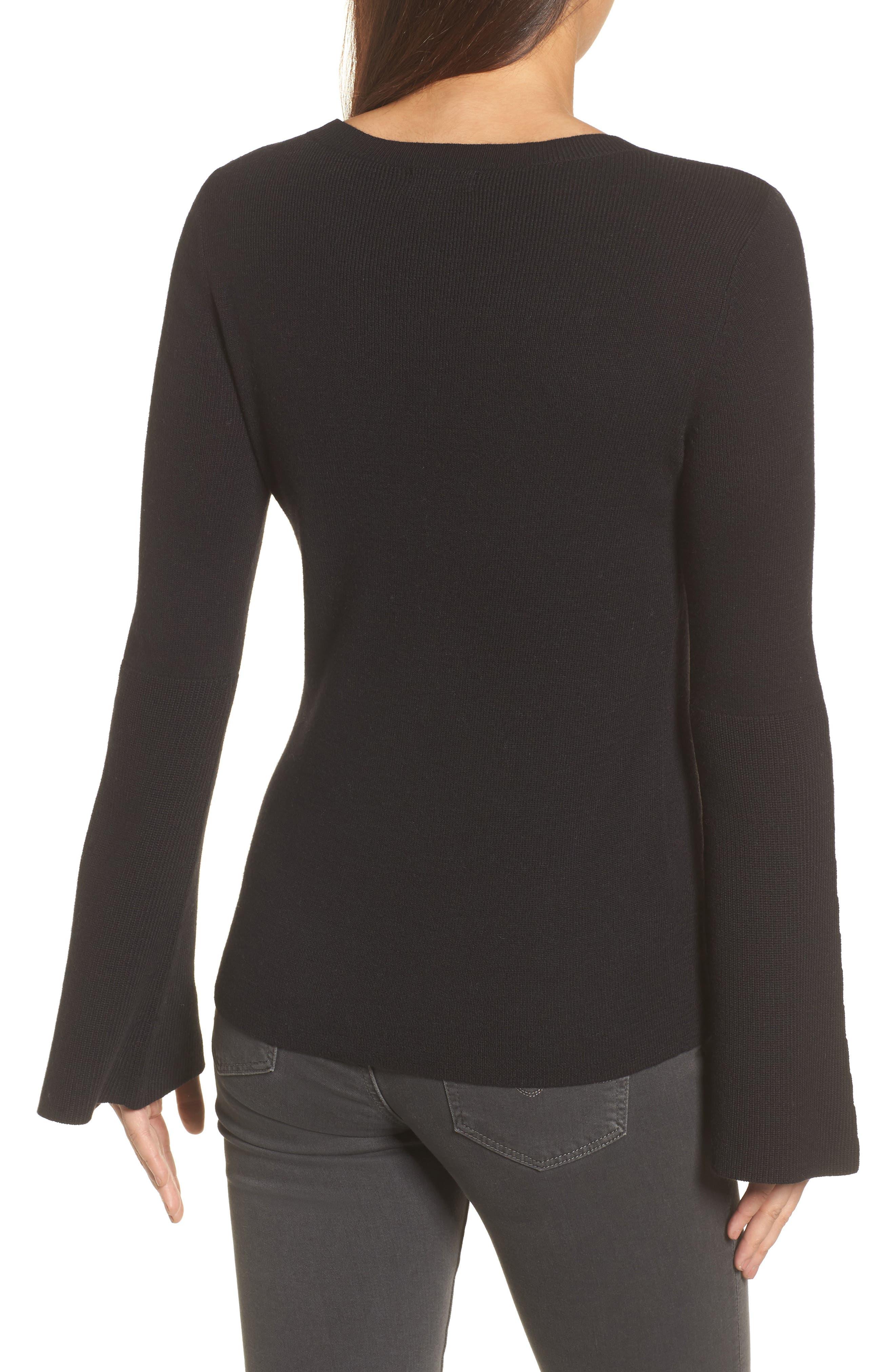 Bell Sleeve Rib Sweater,                             Alternate thumbnail 5, color,