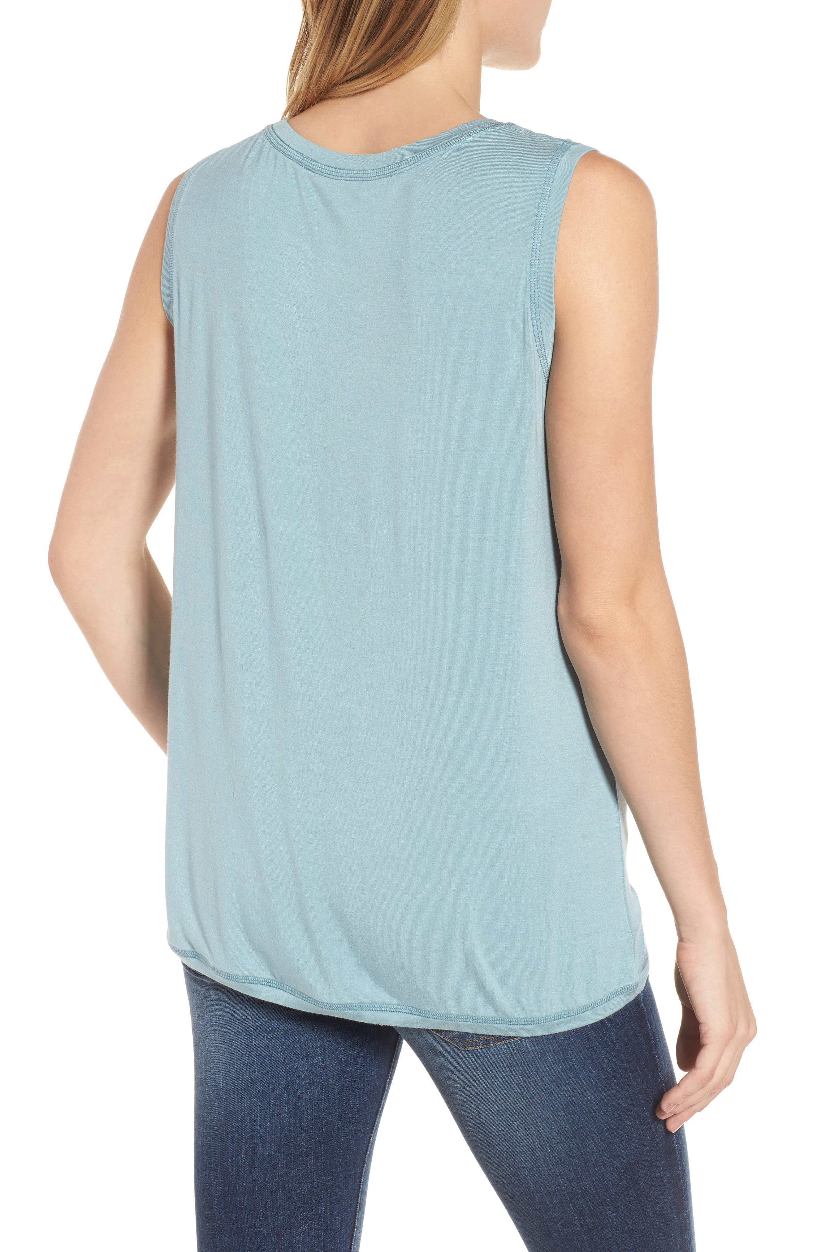 Off-Duty Shirred Sleeveless Tee,                             Alternate thumbnail 9, color,
