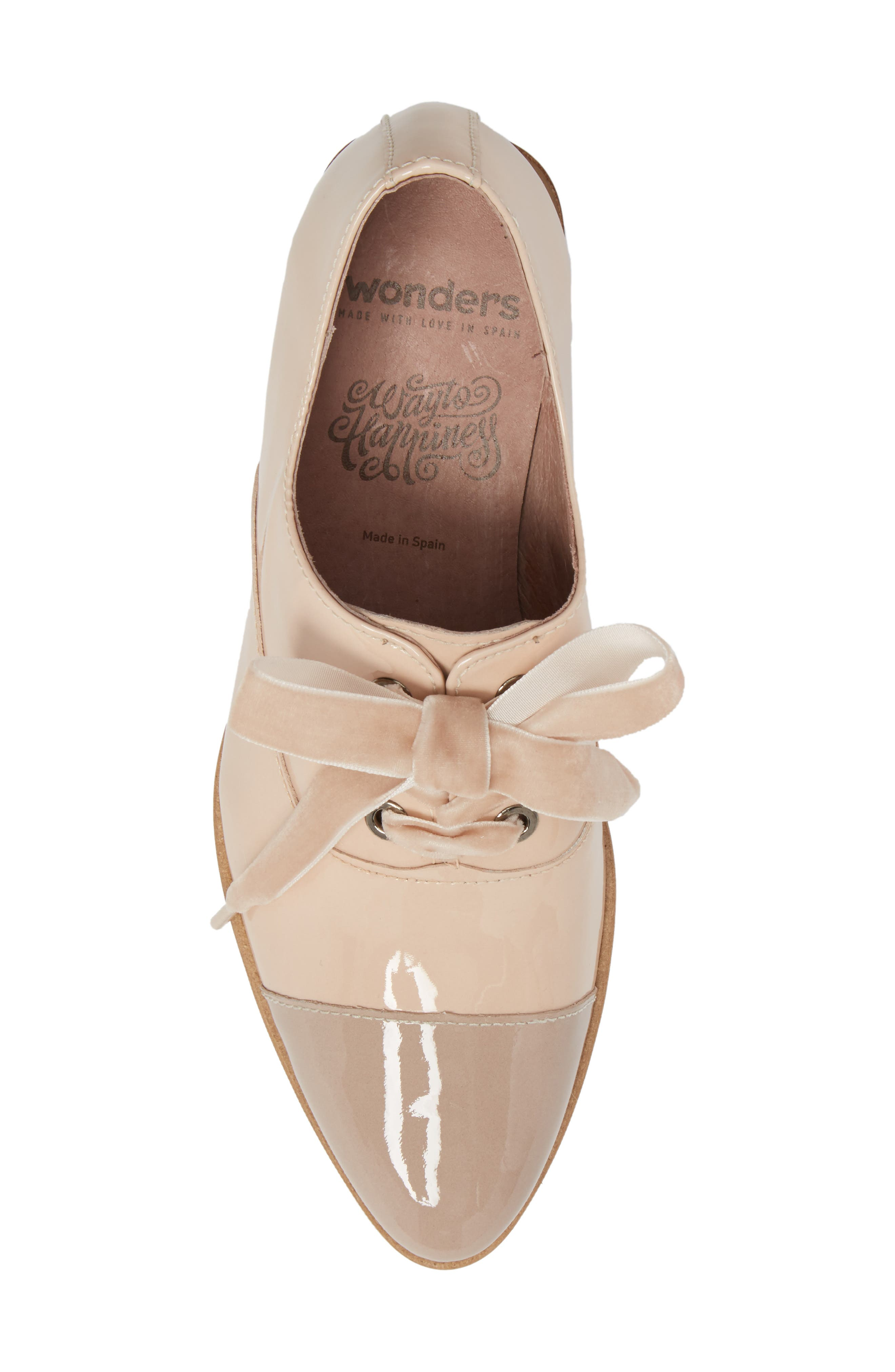 Lace-Up Oxford Pump,                             Alternate thumbnail 5, color,                             TAUPE/ PALO PATENT LEATHER