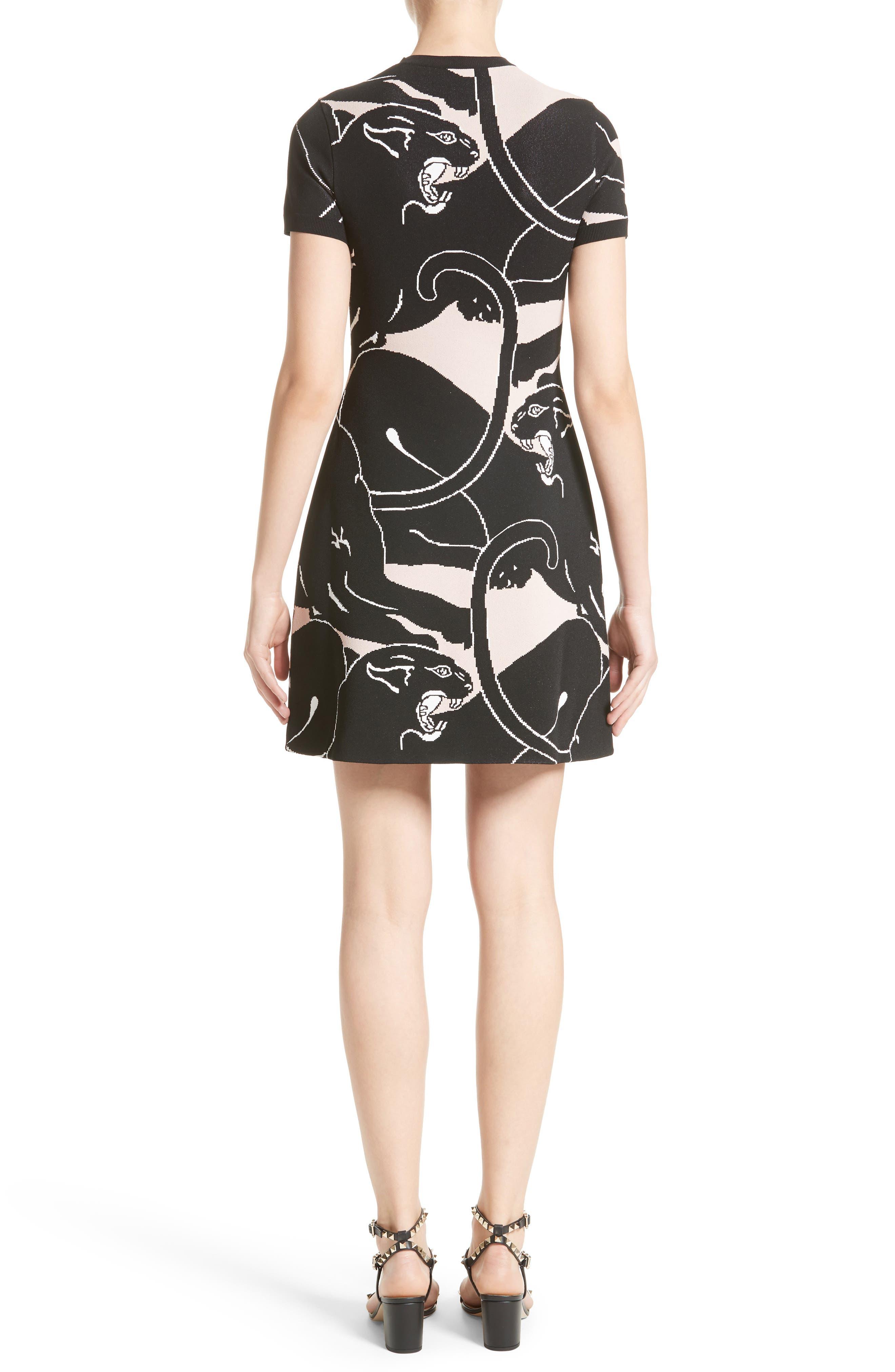 Jacquard Panther Print Dress,                             Alternate thumbnail 2, color,                             001