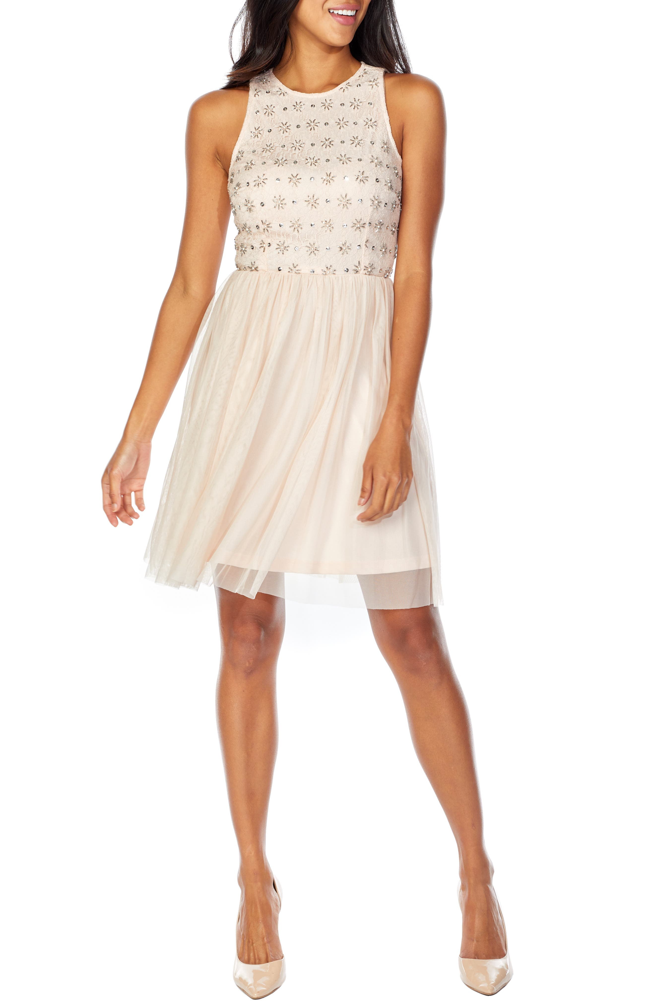Lace & Beads Mae Skater Party Dress, Beige