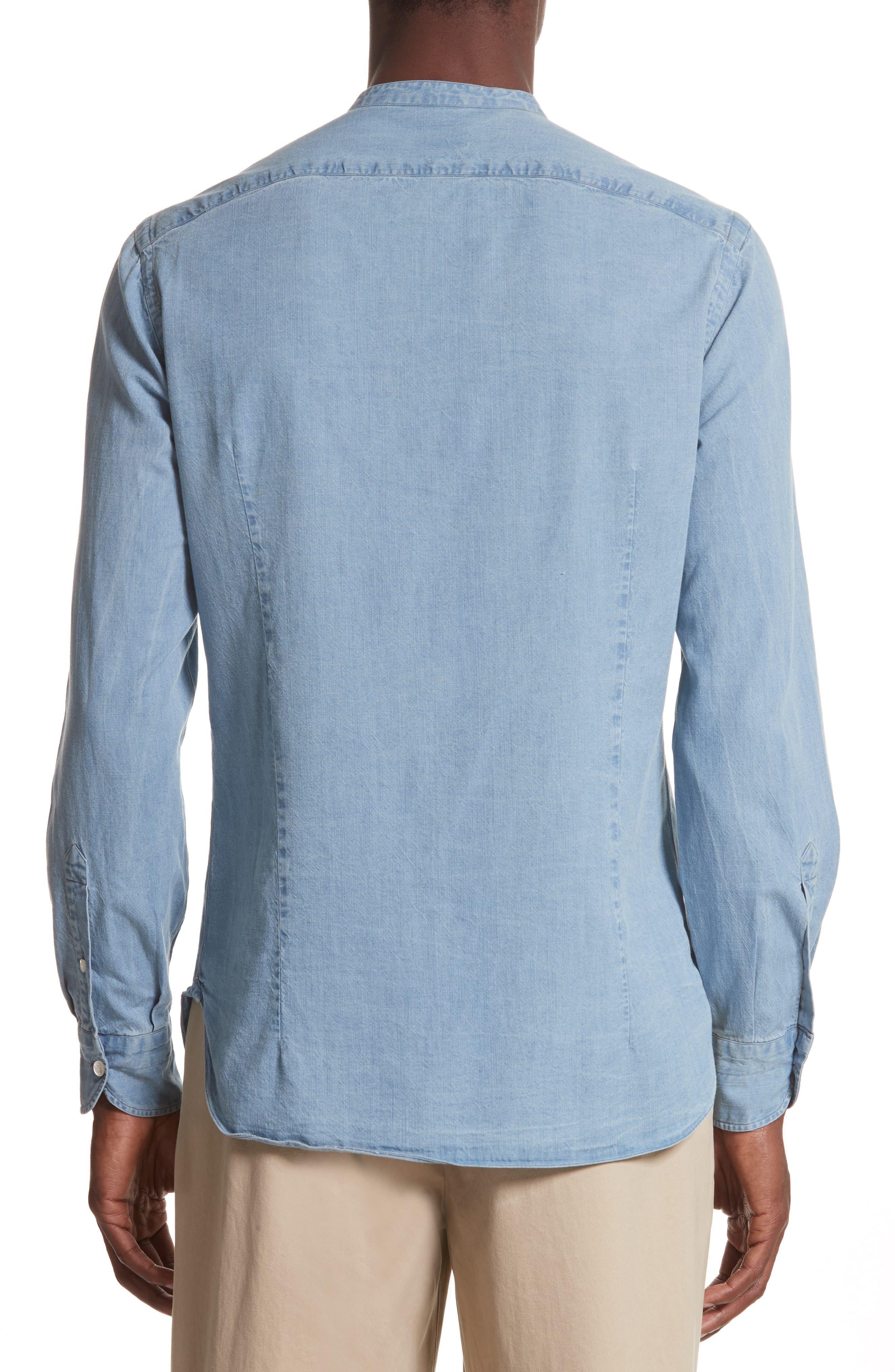Napoli Washed Denim Band Collar Shirt,                             Alternate thumbnail 2, color,                             451