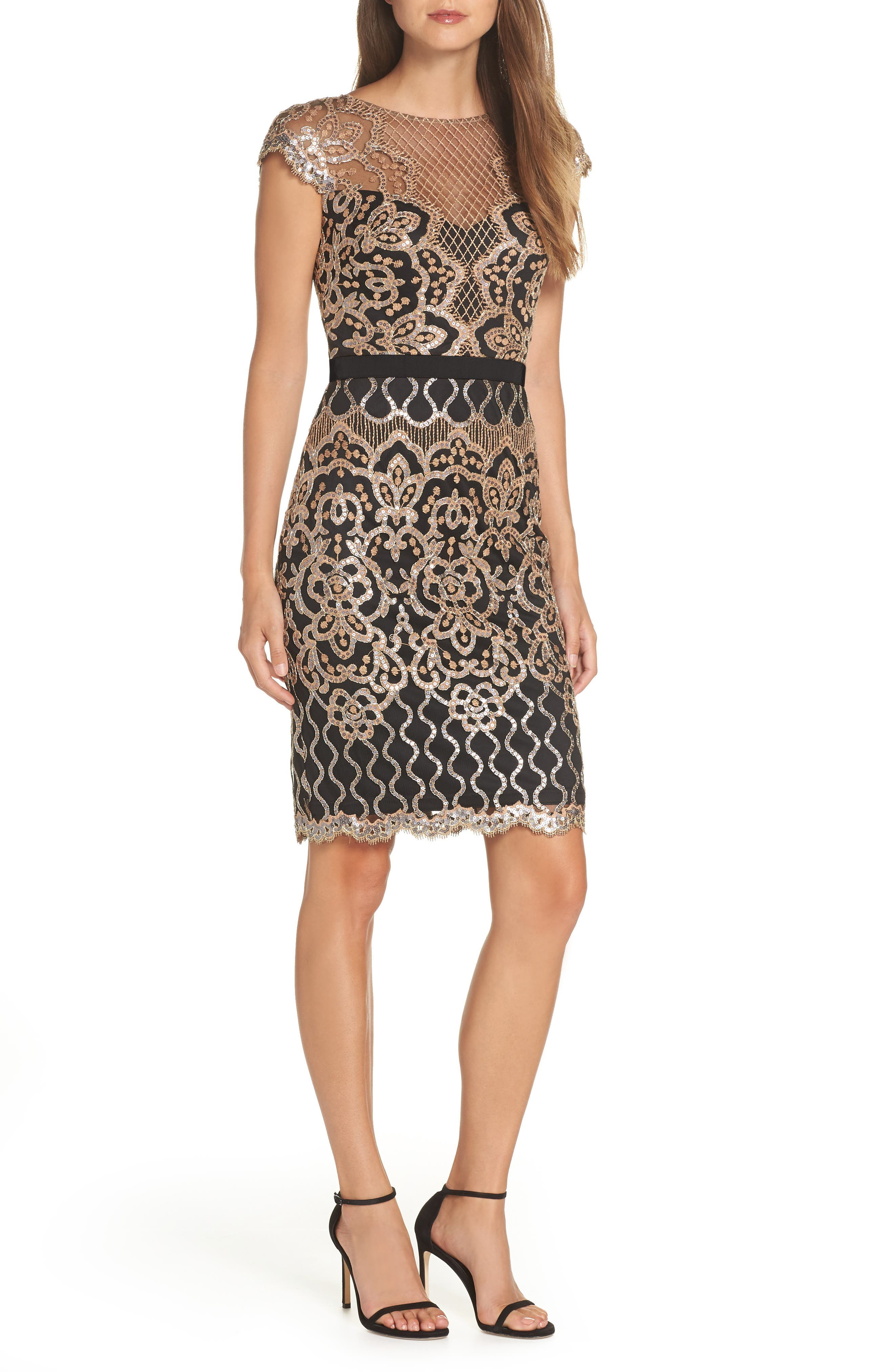 Sequin Embellished Dress,                         Main,                         color, COPPER SHADOW/ BLACK