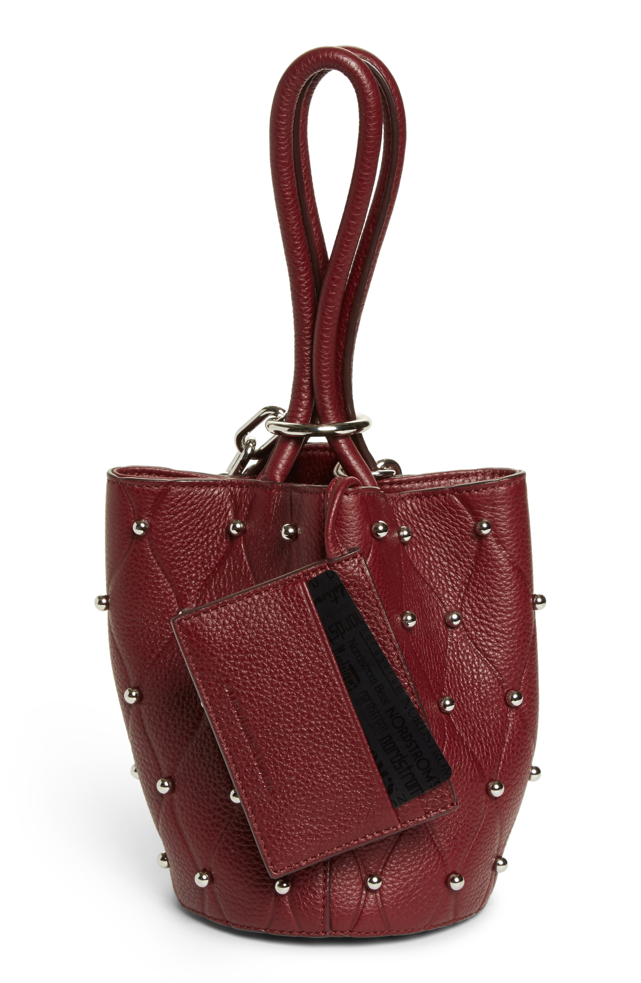 Mini Roxy Studded Leather Bucket Bag,                             Alternate thumbnail 3, color,                             616