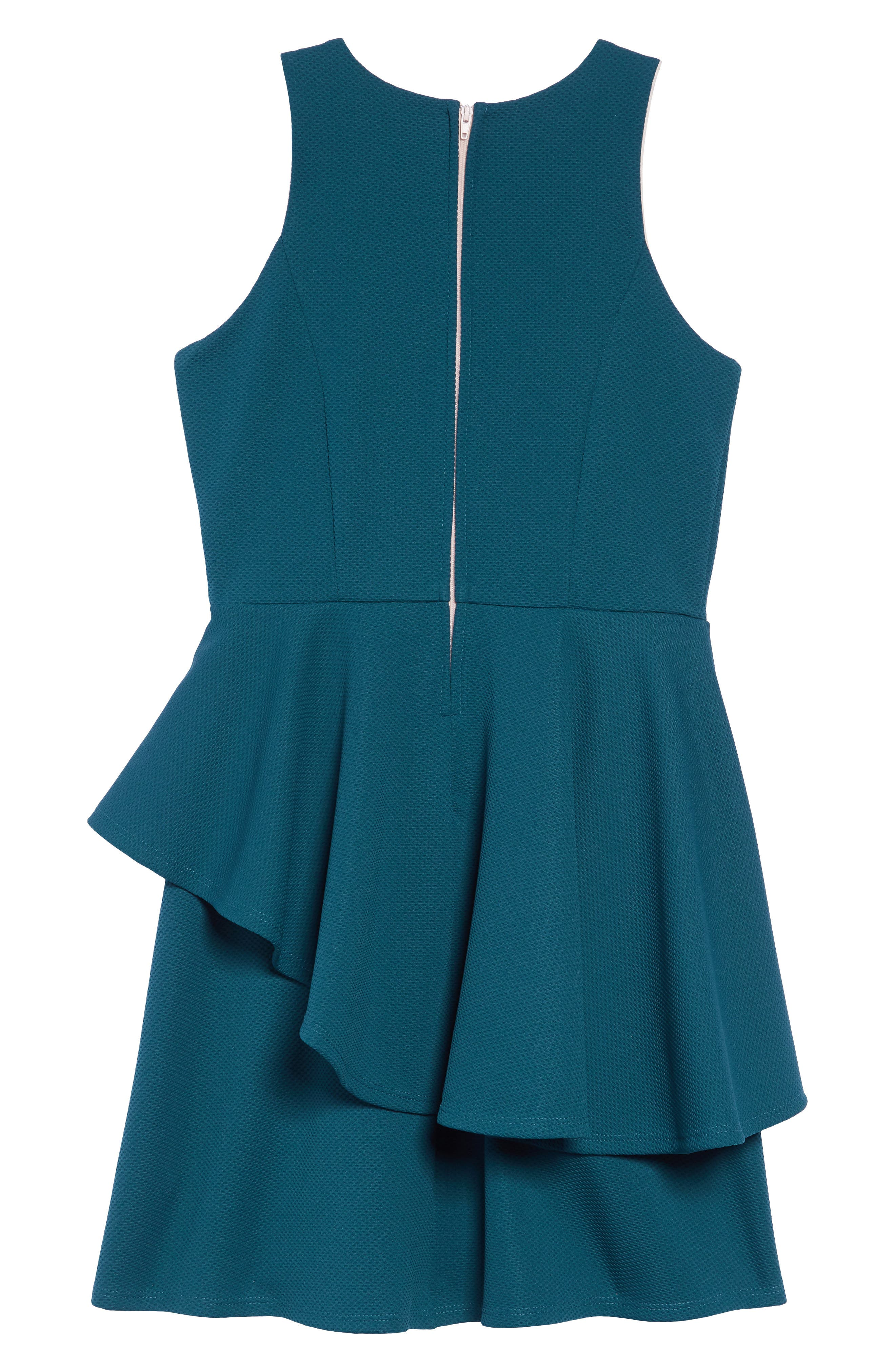 Textured Tiered Dress,                             Alternate thumbnail 2, color,                             TEAL/ BLUSH