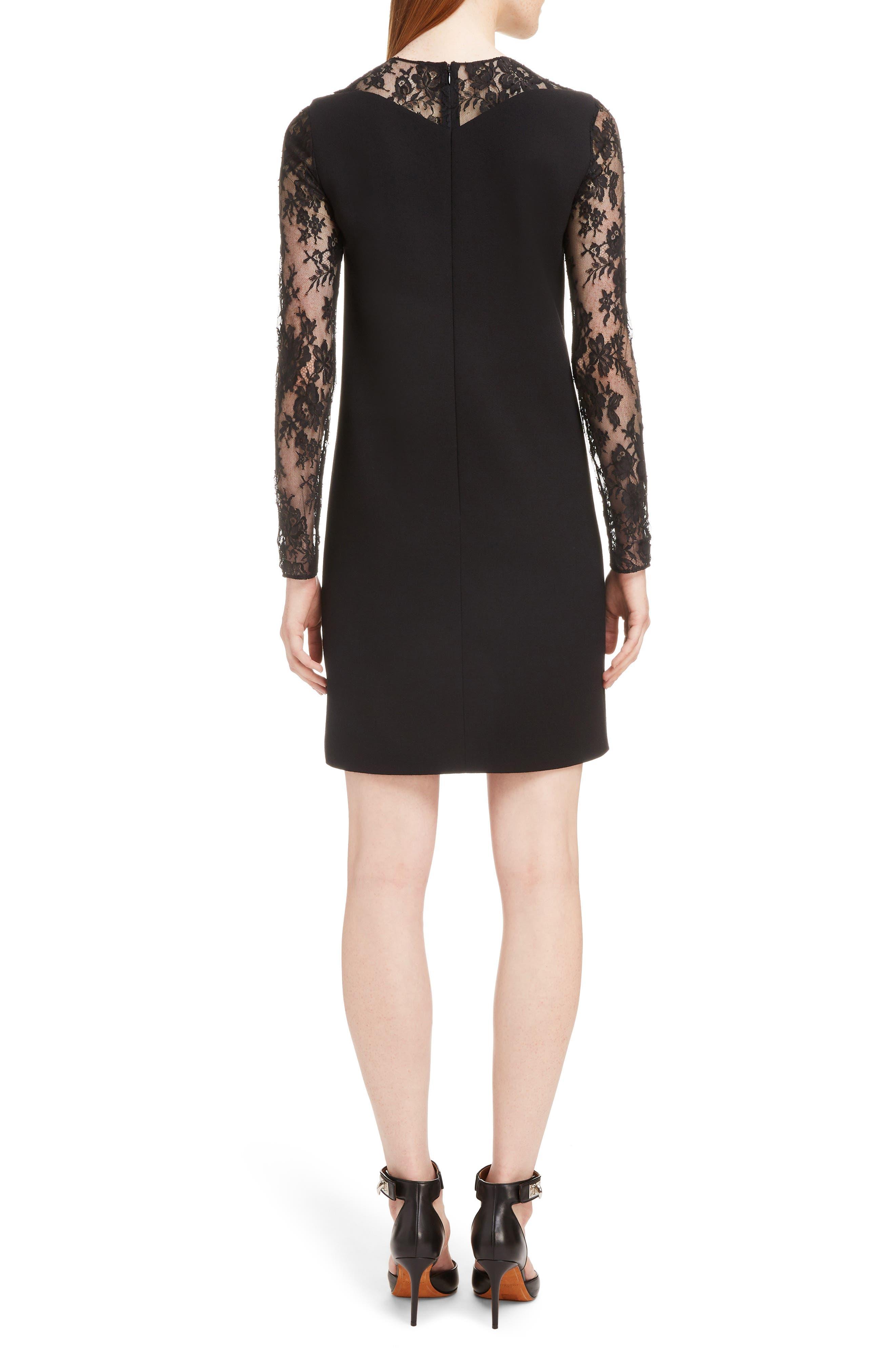 Lace Illusion Dress,                             Alternate thumbnail 2, color,                             001-BLACK