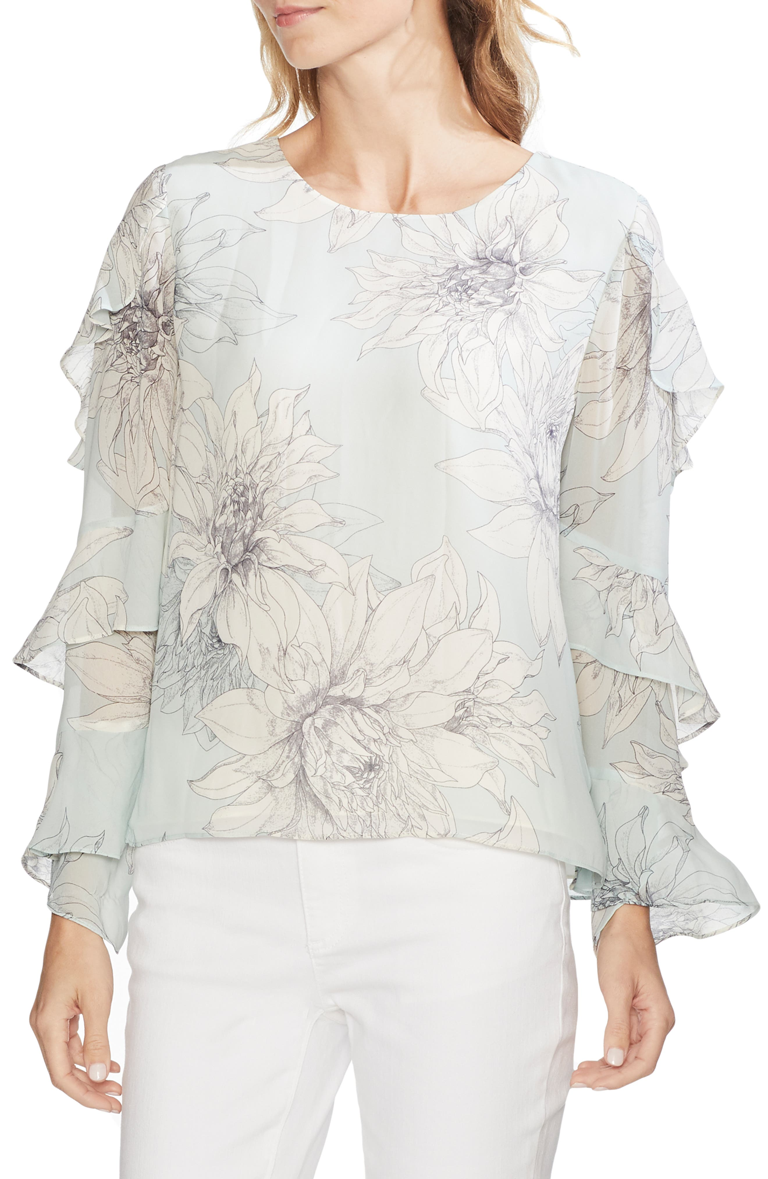 Pagoda Blossoms Tiered Ruffle Sleeve Blouse by Vince Camuto
