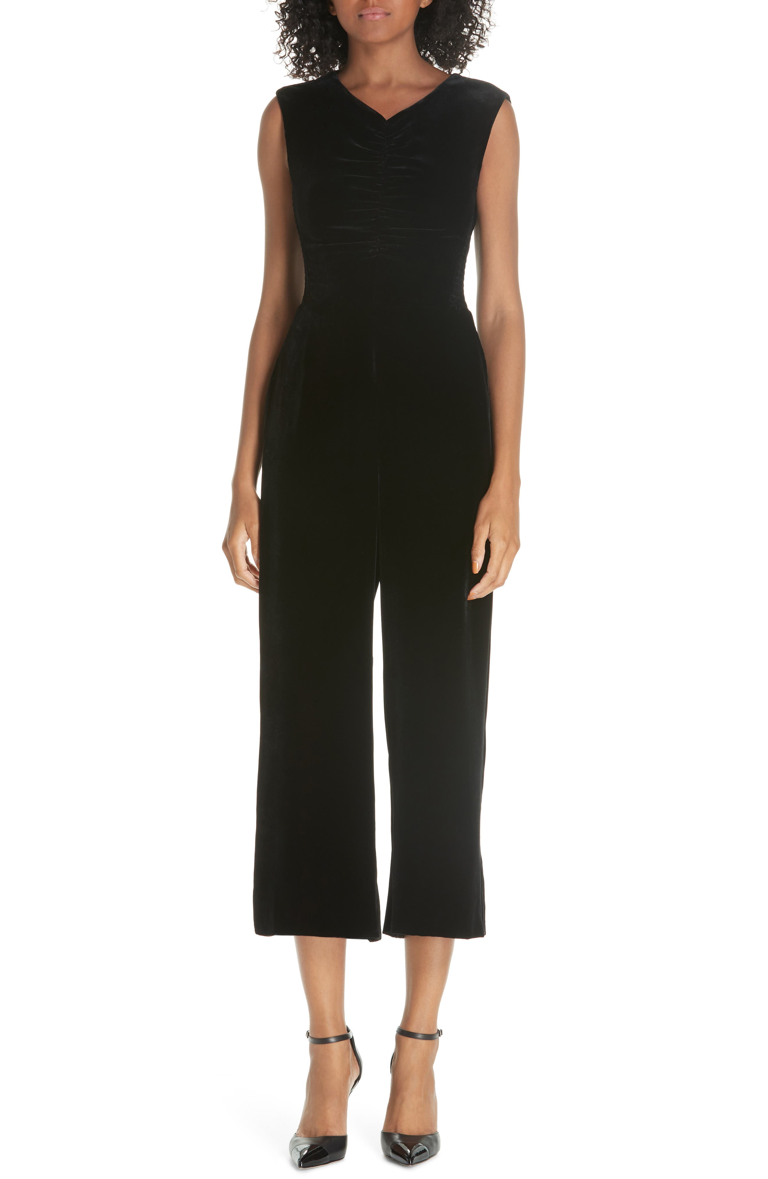 Ruched Velvet Jumpsuit,                         Main,                         color, 001