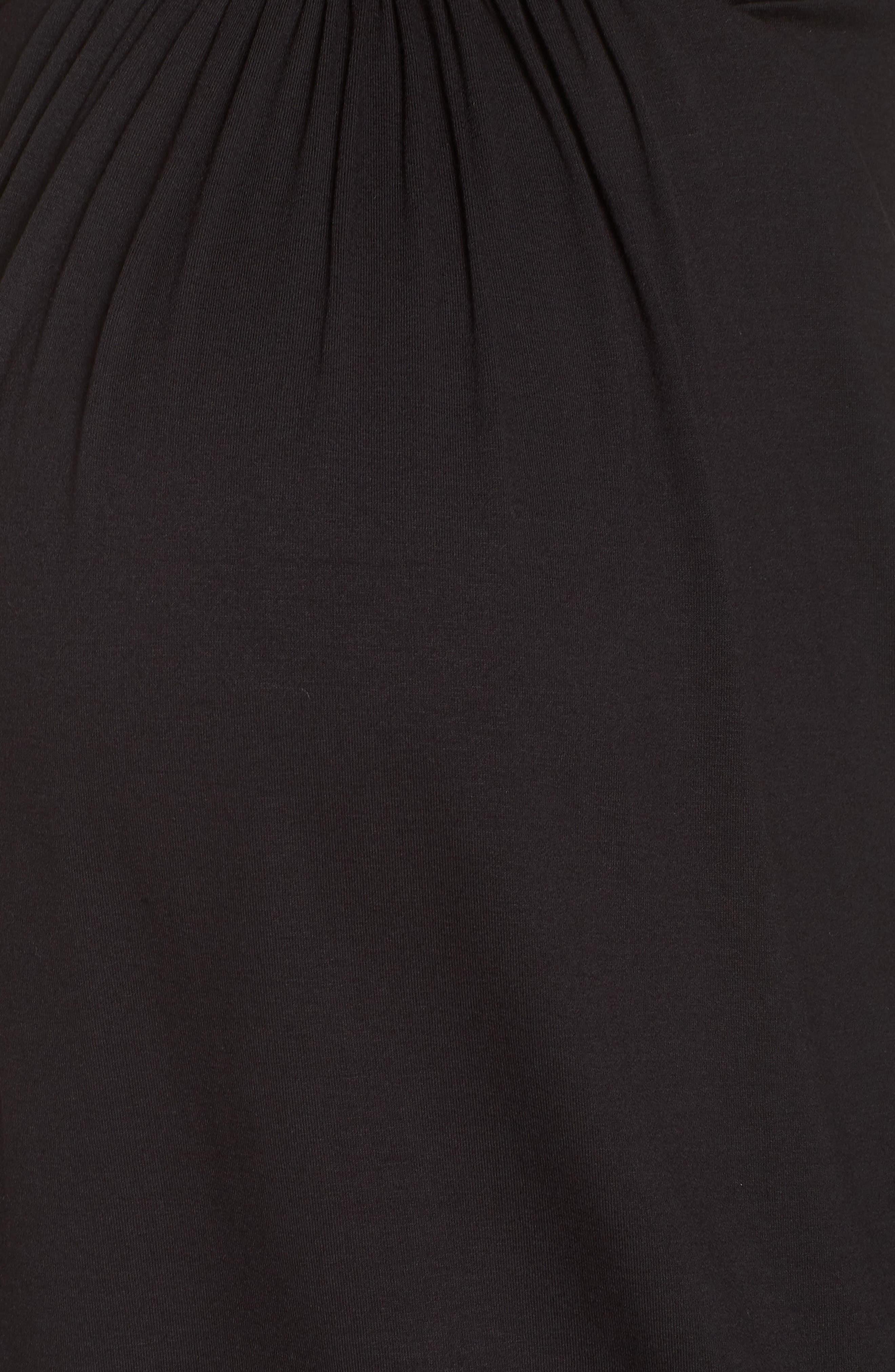 Lace Trim Maternity/Nursing Chemise,                             Alternate thumbnail 5, color,                             BLACK/ PEARL