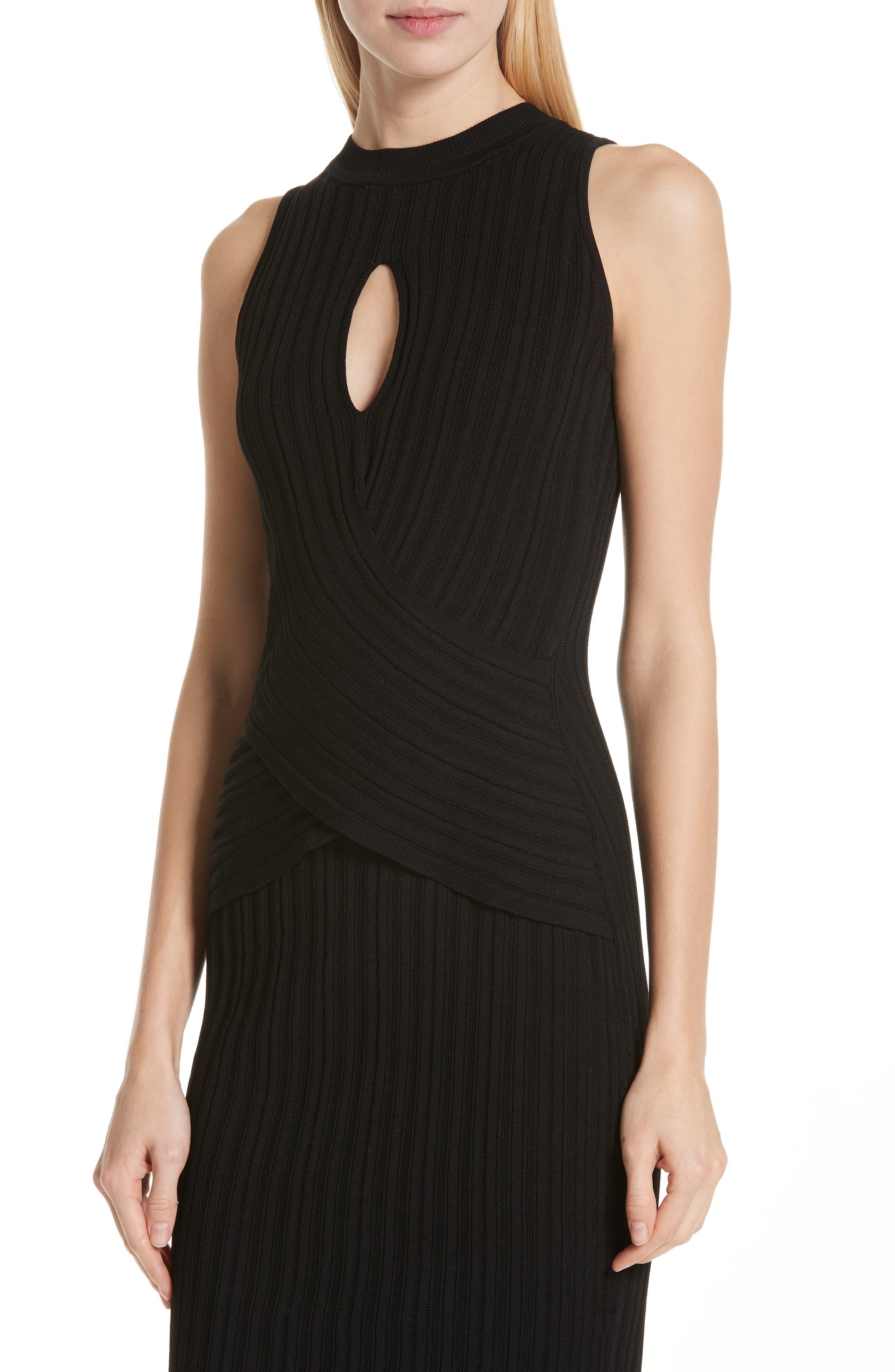 CUSHNIE,                             Knit Pencil Dress,                             Alternate thumbnail 4, color,                             BLACK