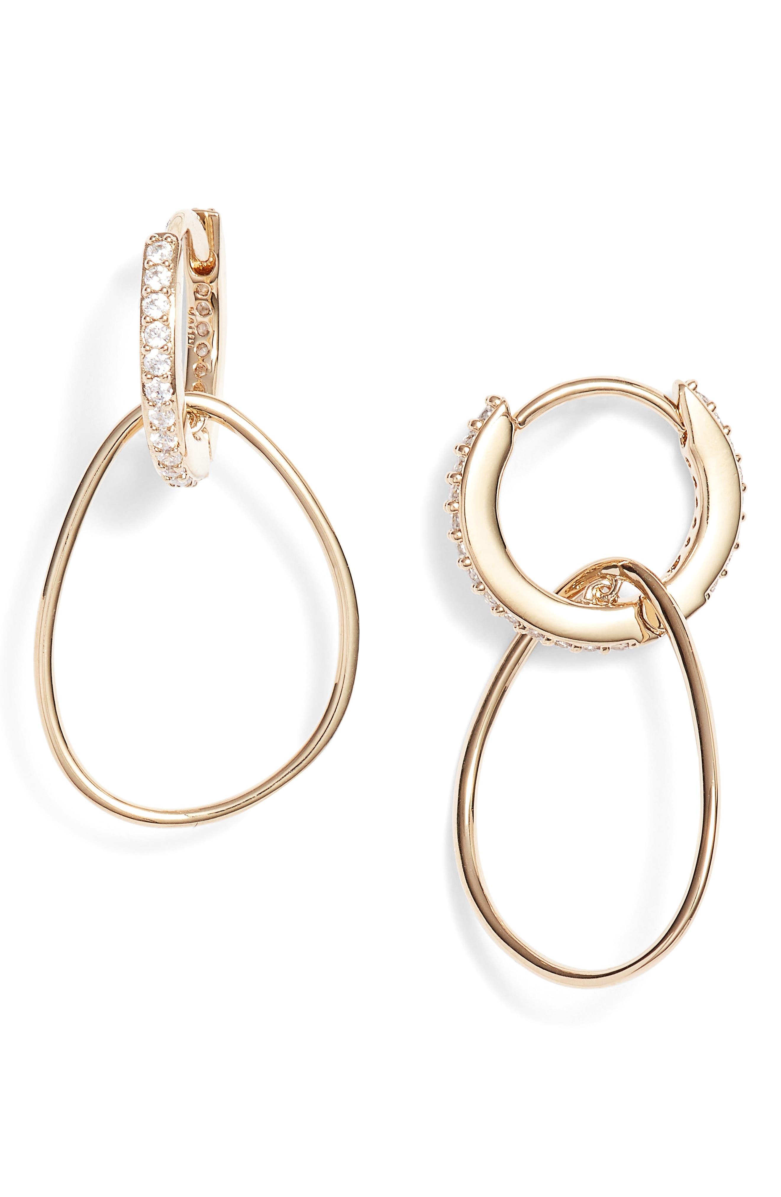 Dual Sparkle Hoop Earrings,                             Main thumbnail 3, color,