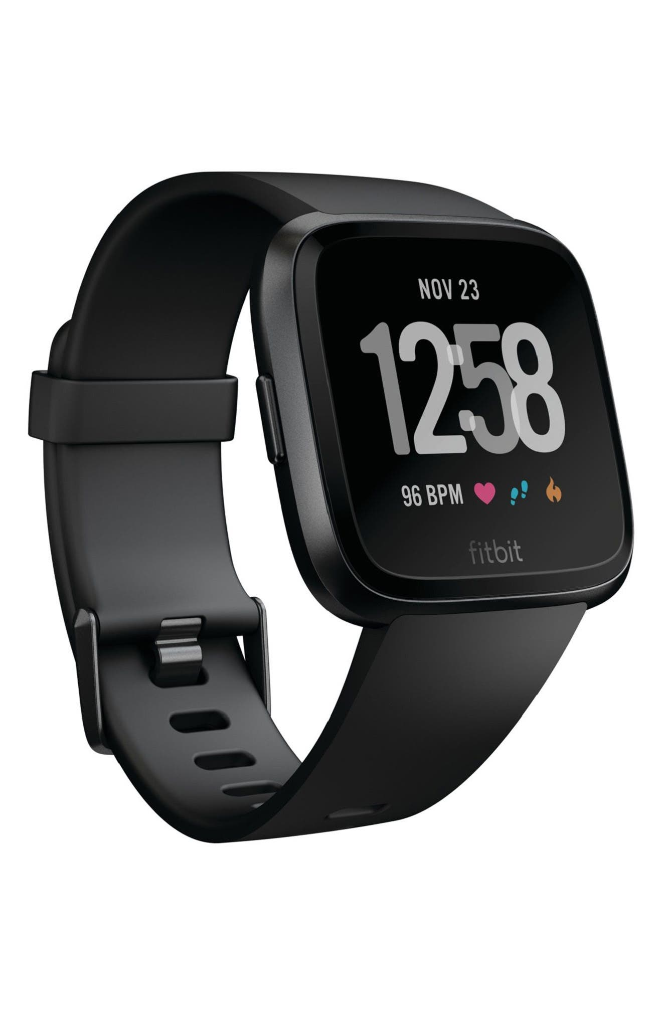 FITBIT,                             Versa Smart Watch,                             Main thumbnail 1, color,                             BLACK / BLACK