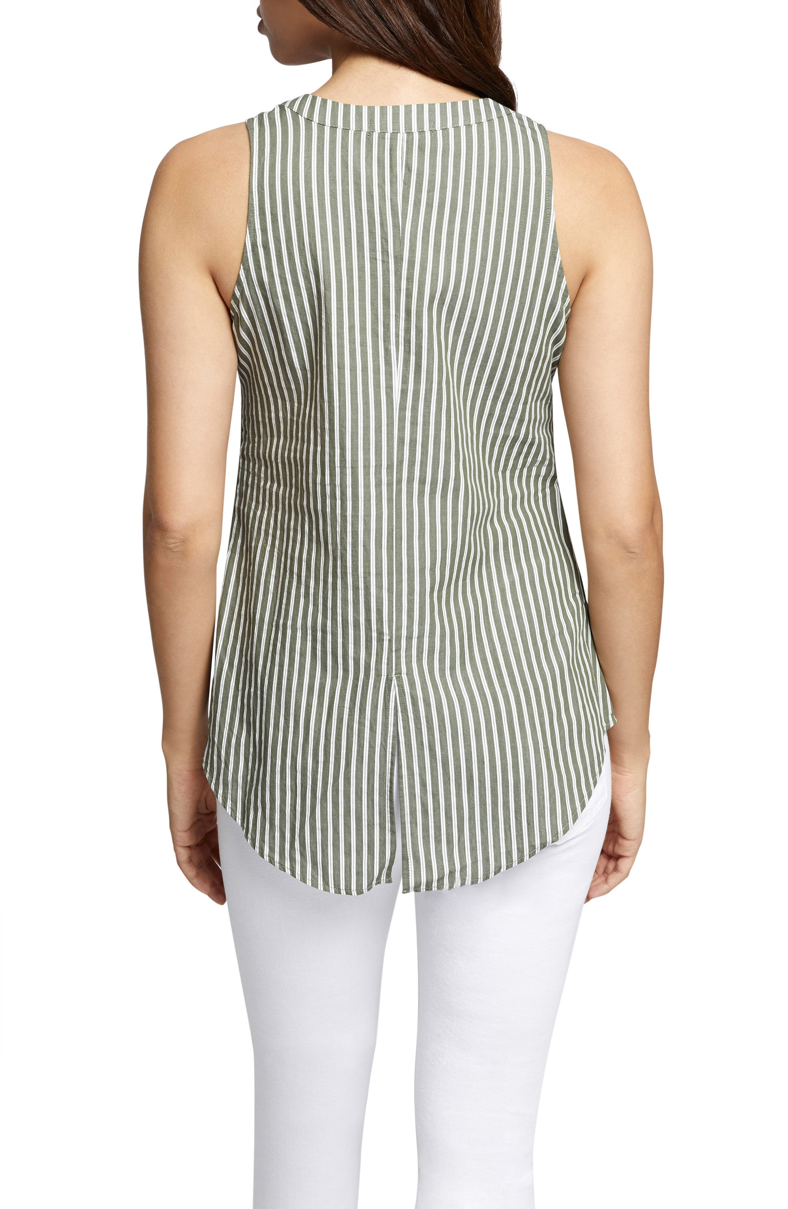 Cara Tie Front Stripe Shell,                             Alternate thumbnail 2, color,                             312