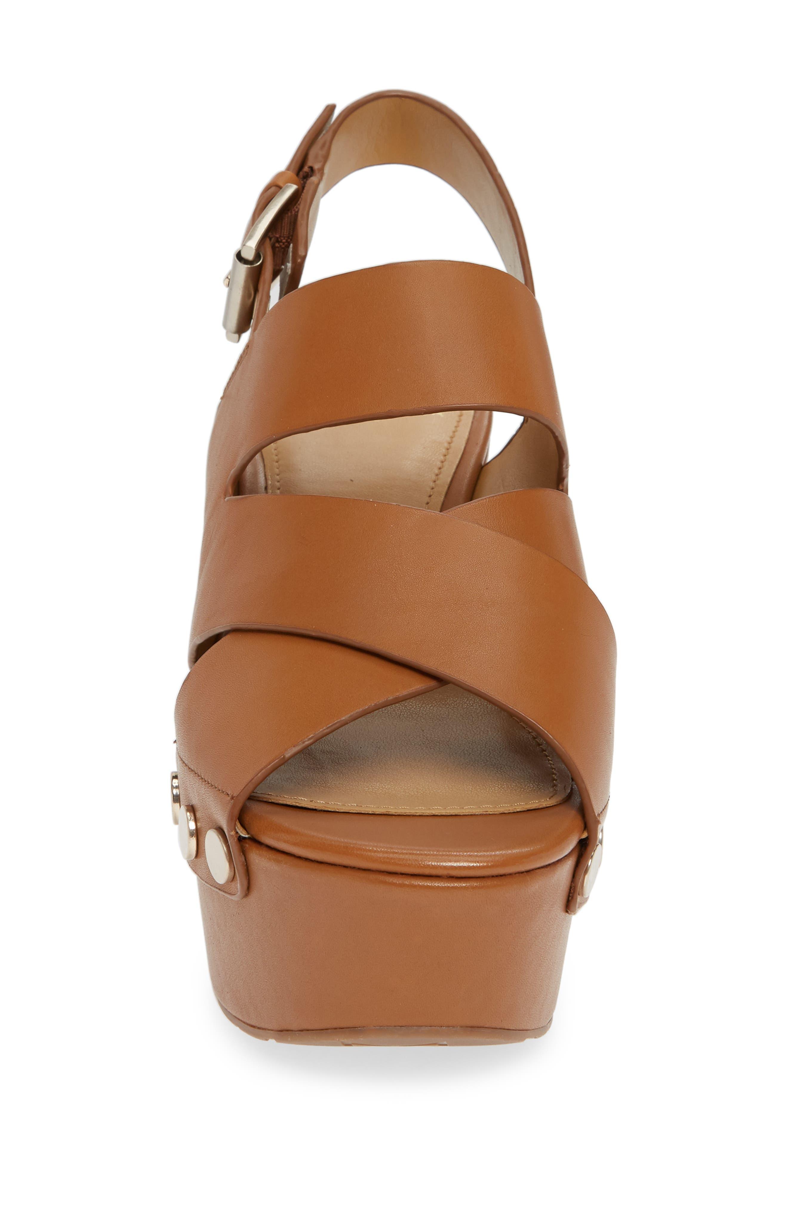 Bianka Platform Wedge Sandal,                             Alternate thumbnail 4, color,                             GINGER SNAP LEATHER