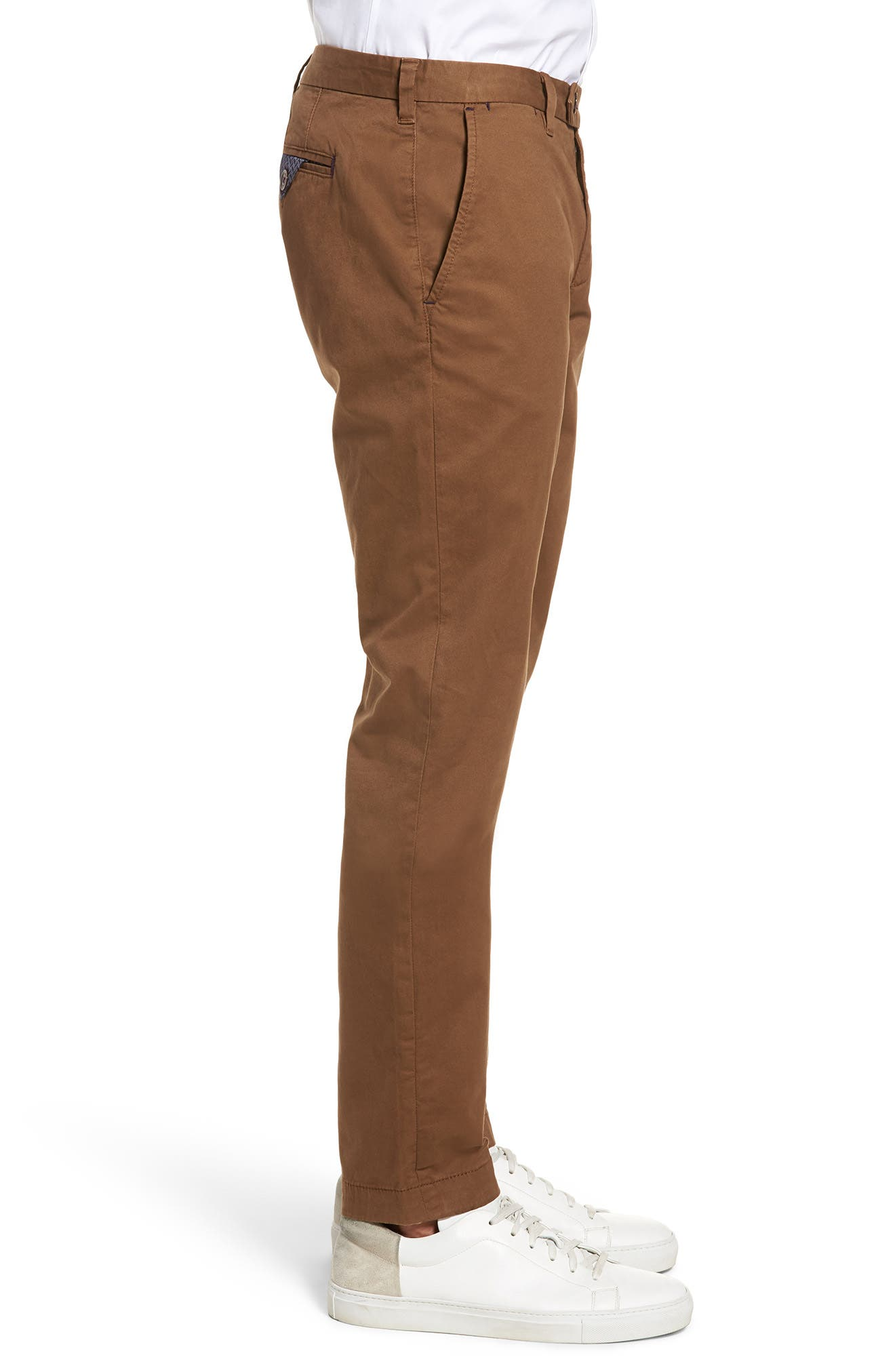 Proctt Flat Front Stretch Solid Cotton Pants,                             Alternate thumbnail 3, color,                             TAN
