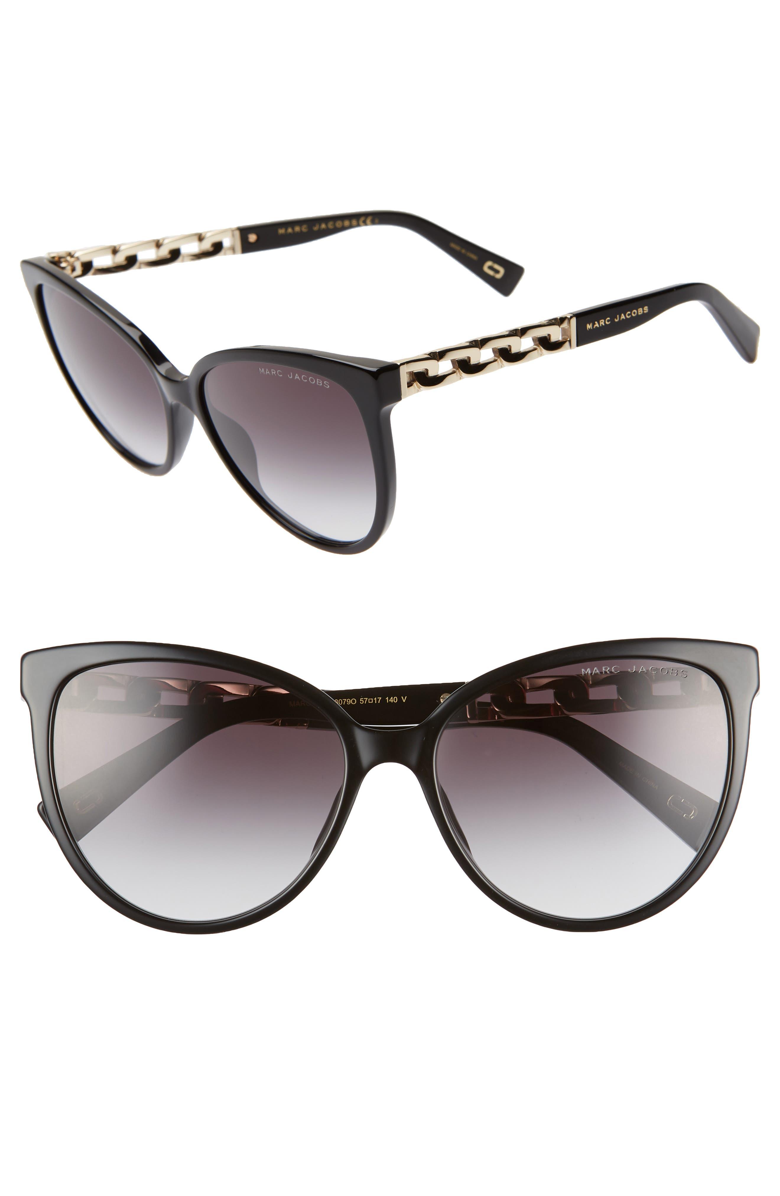 57mm Gradient Cat Eye Sunglasses,                             Main thumbnail 1, color,                             BLACK