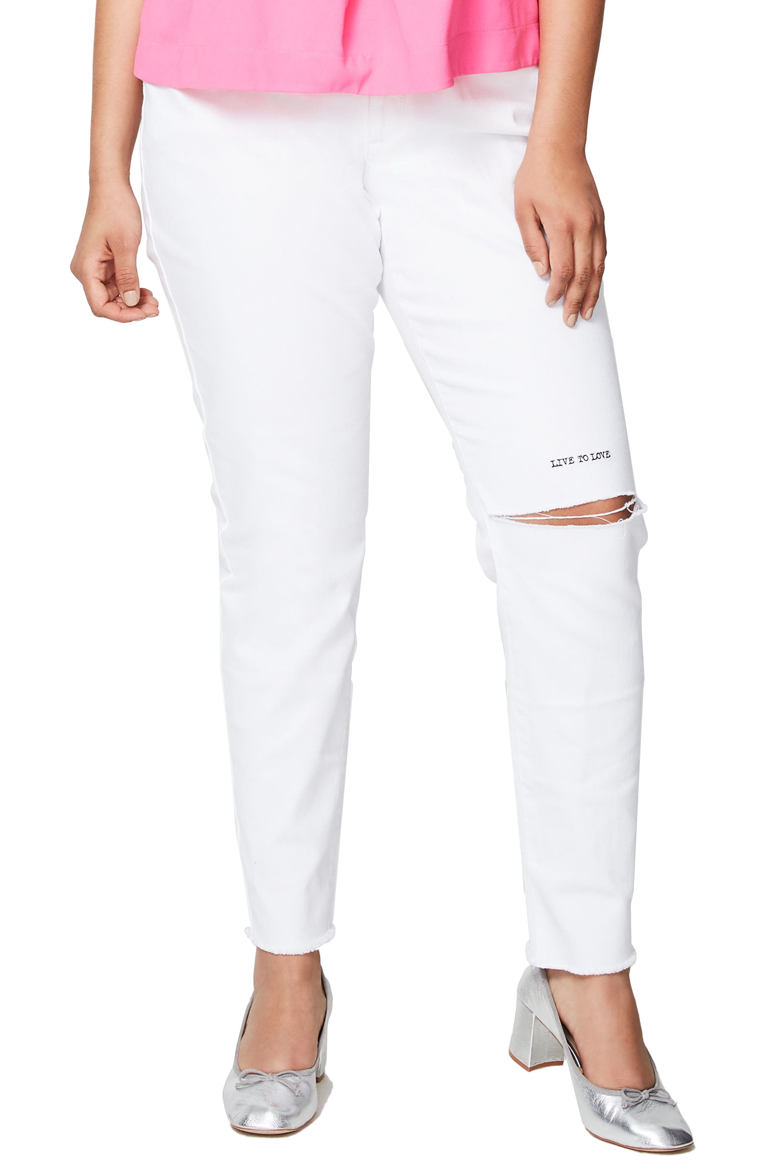 Rachel Roy Live to Love Ripped Skinny Jeans,                         Main,                         color, 100