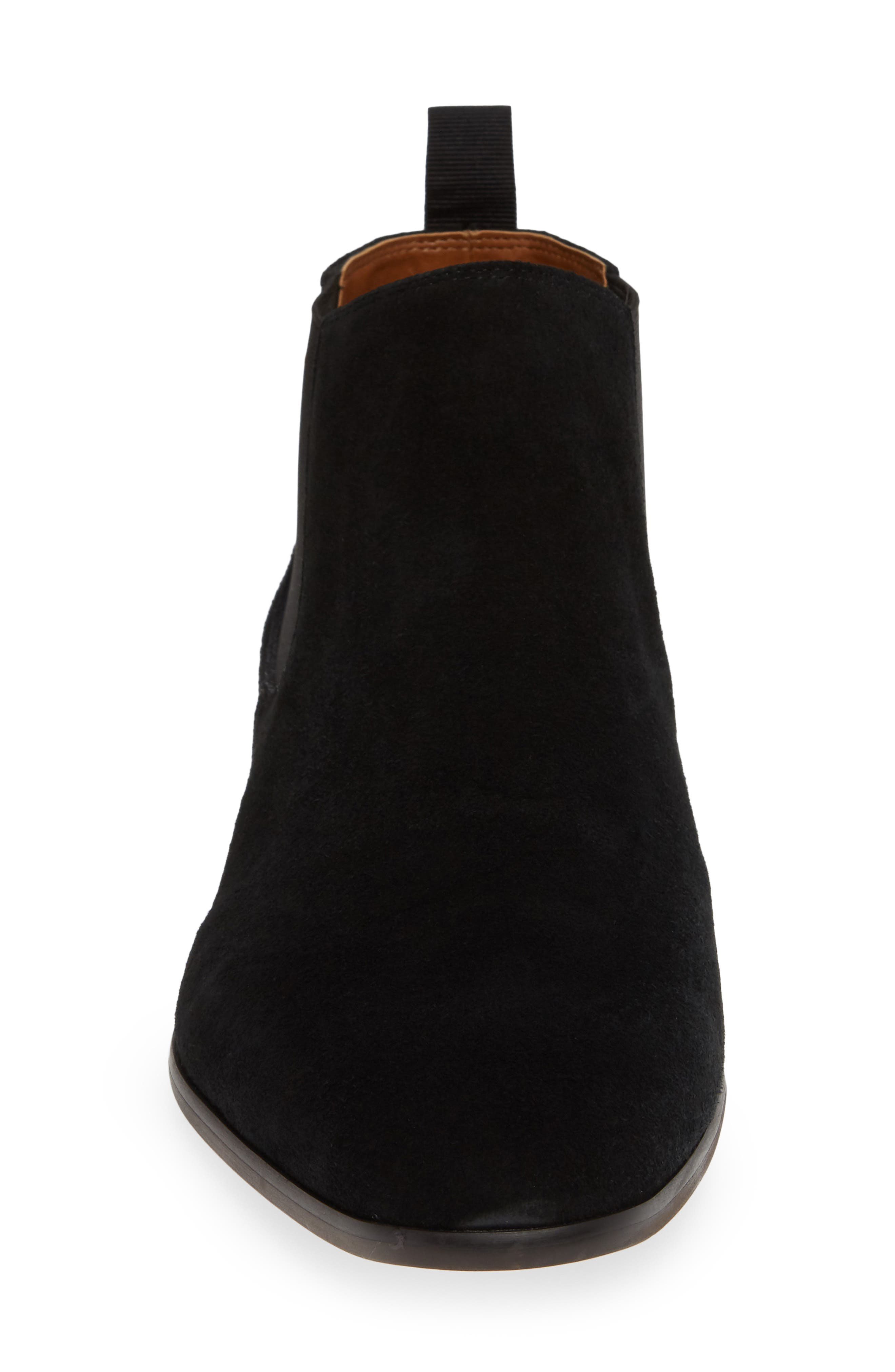 Edward Chelsea Boot,                             Alternate thumbnail 4, color,                             BLACK SUEDE