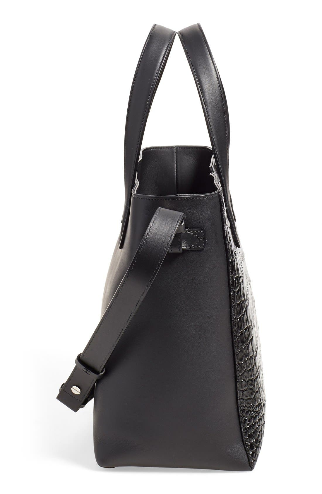 'Baby Signature V' CrocEmbossed Tote,                             Alternate thumbnail 5, color,                             001