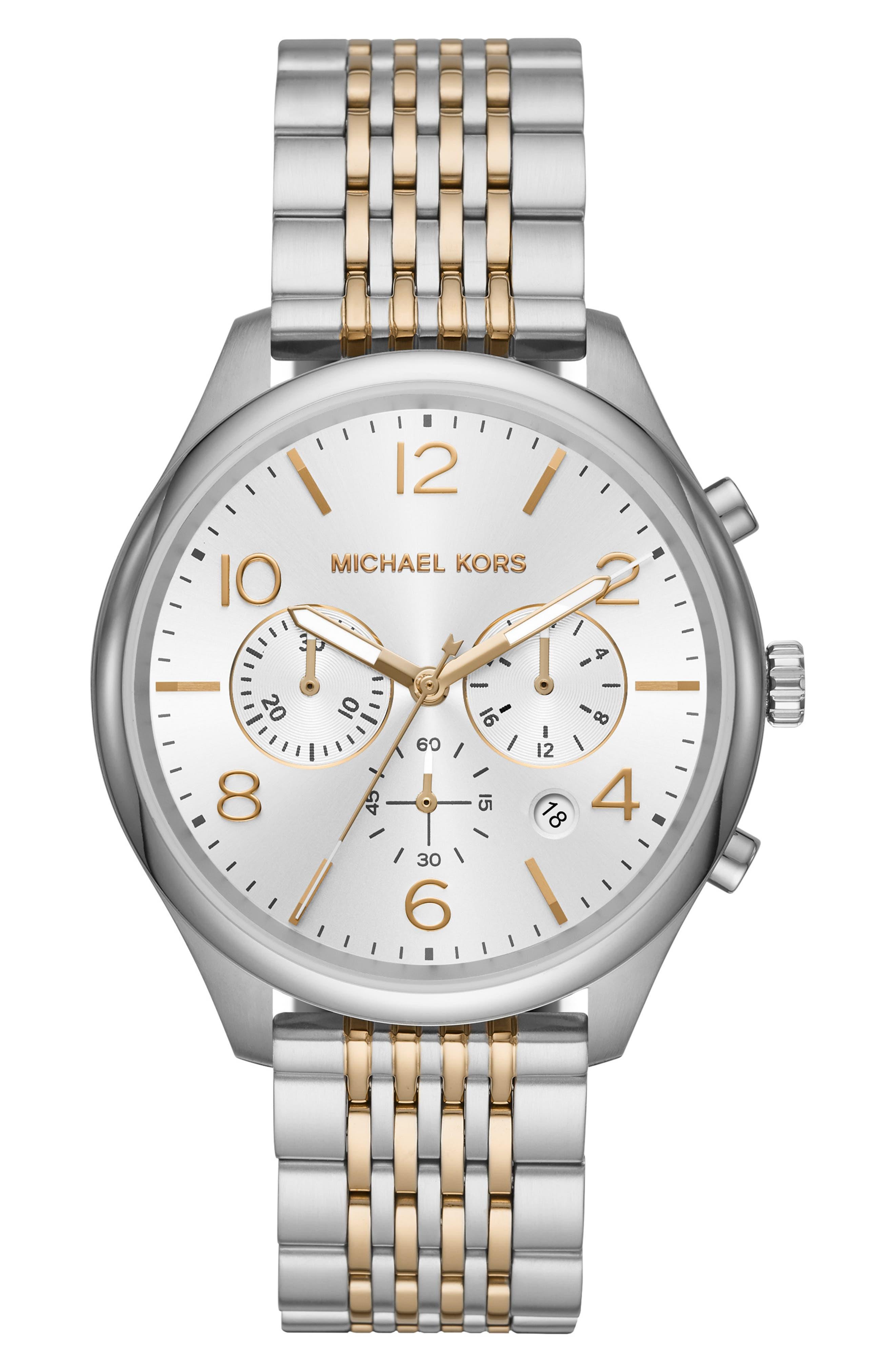 MICHAEL KORS Merrick Bracelet Watch, 42mm, Main, color, ROSE GOLD/ SILVER