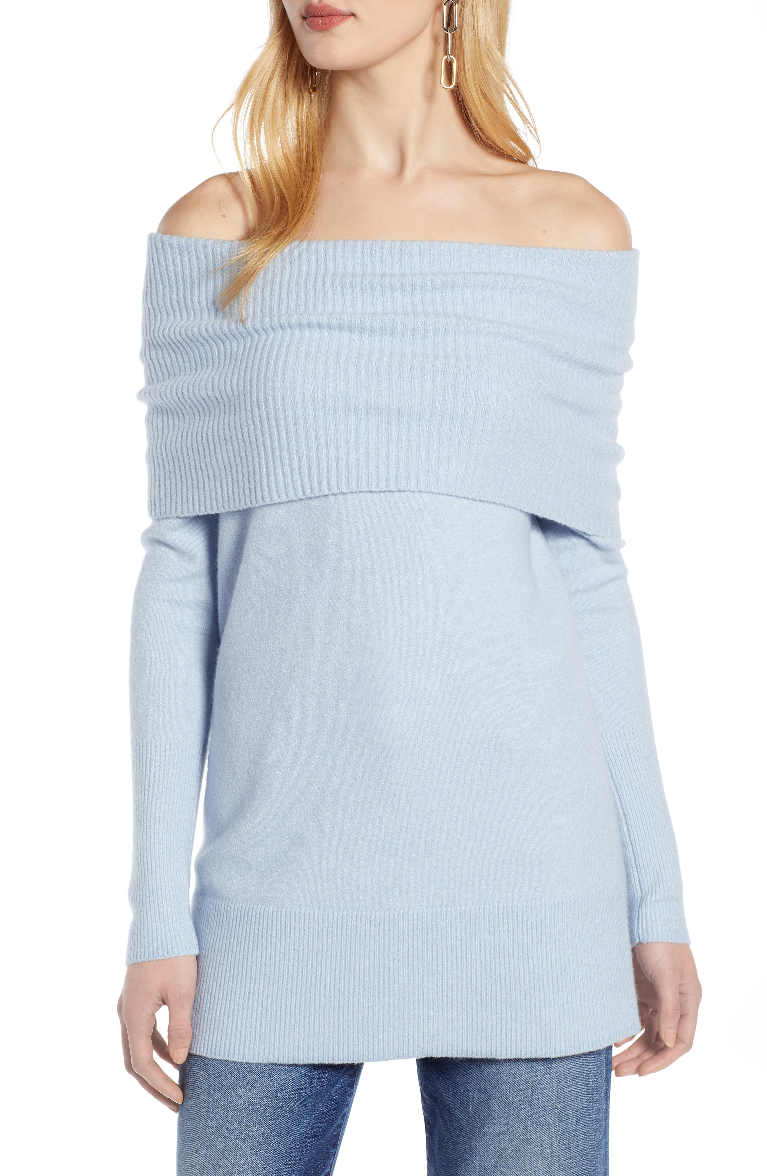 Convertible Neck Sweater, Main, color, BLUE FOG