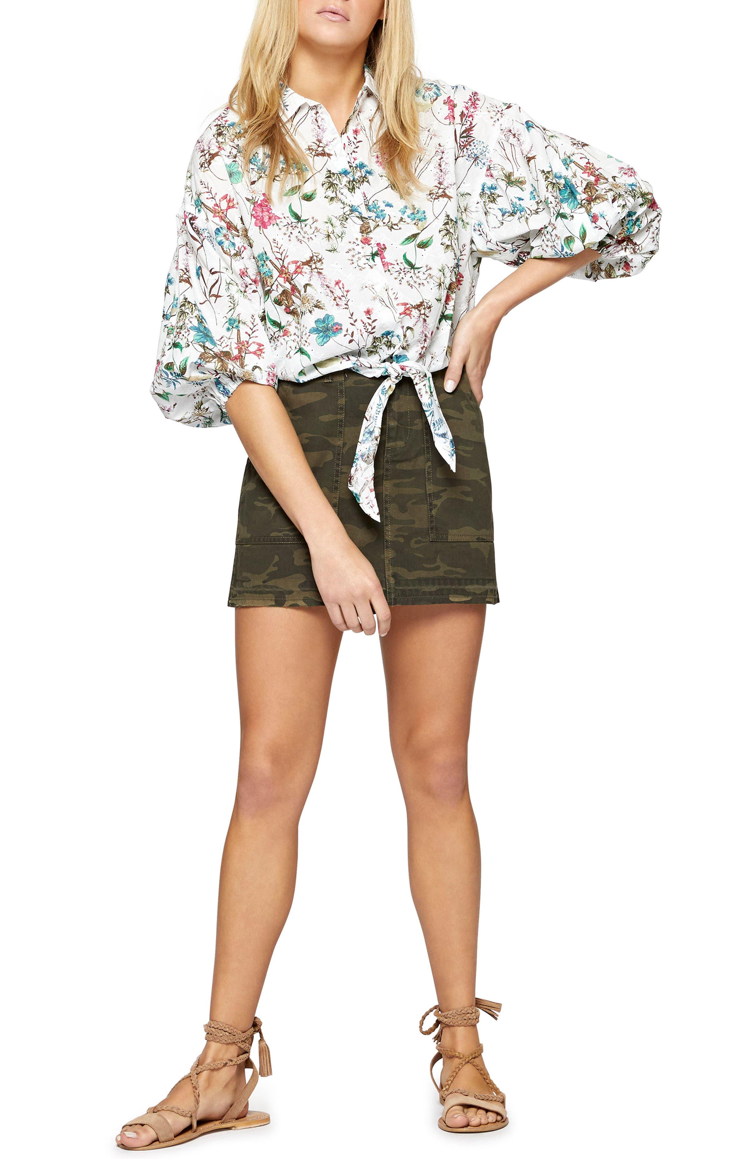 Clover Tie Front Cotton Shirt,                             Alternate thumbnail 6, color,
