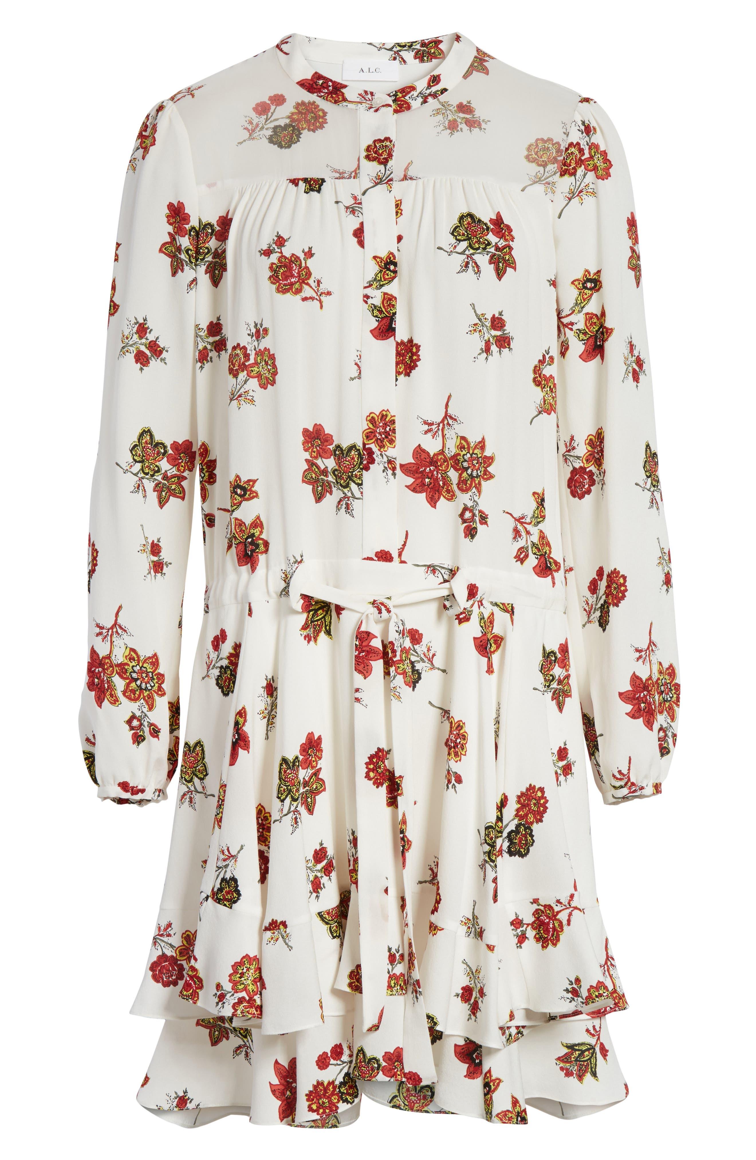 Rori Silk Drop Waist Dress,                             Alternate thumbnail 6, color,