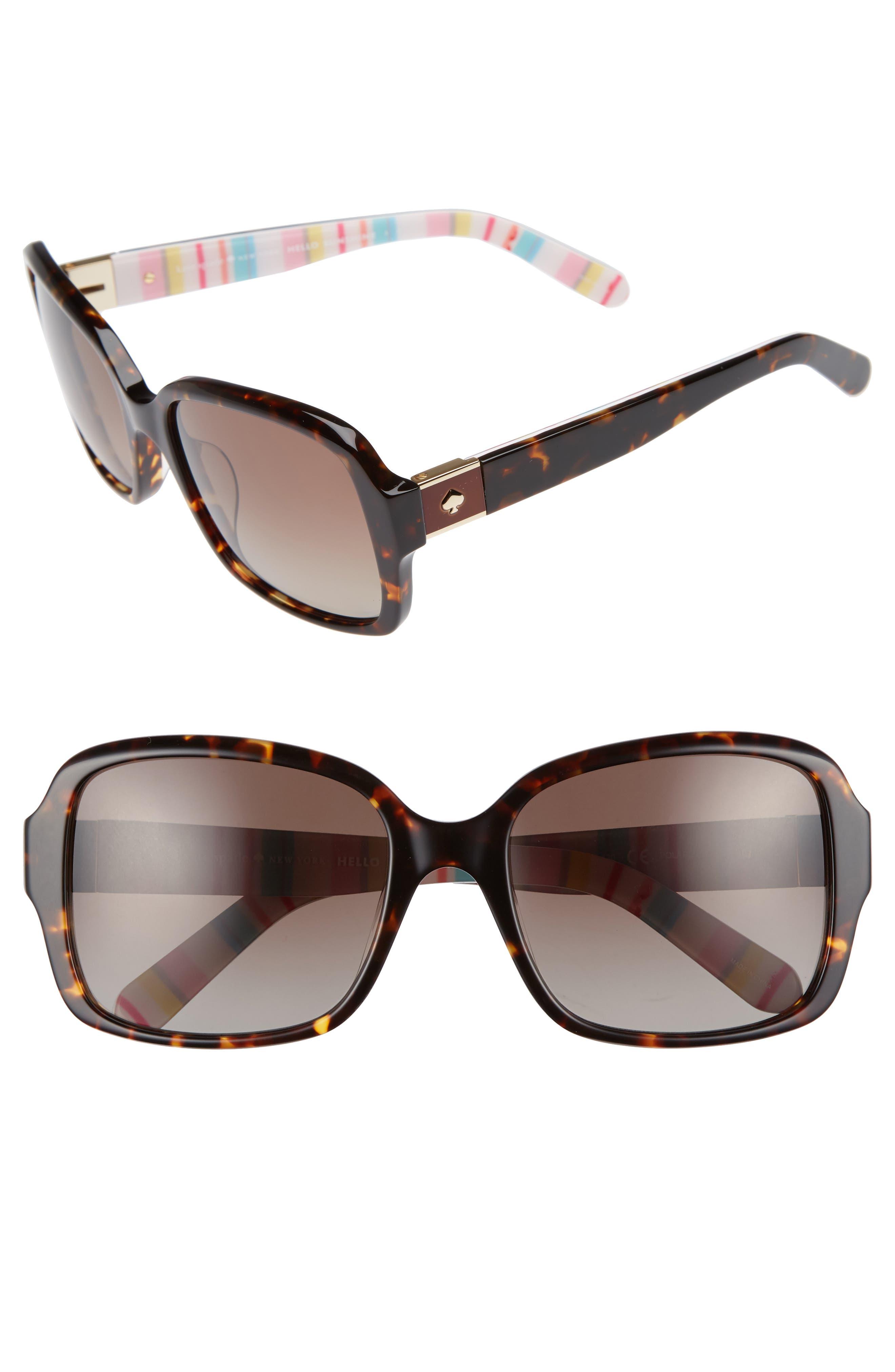 Kate Spade New York Annor 5m Polarized Sunglasses - Havana/ Stripe