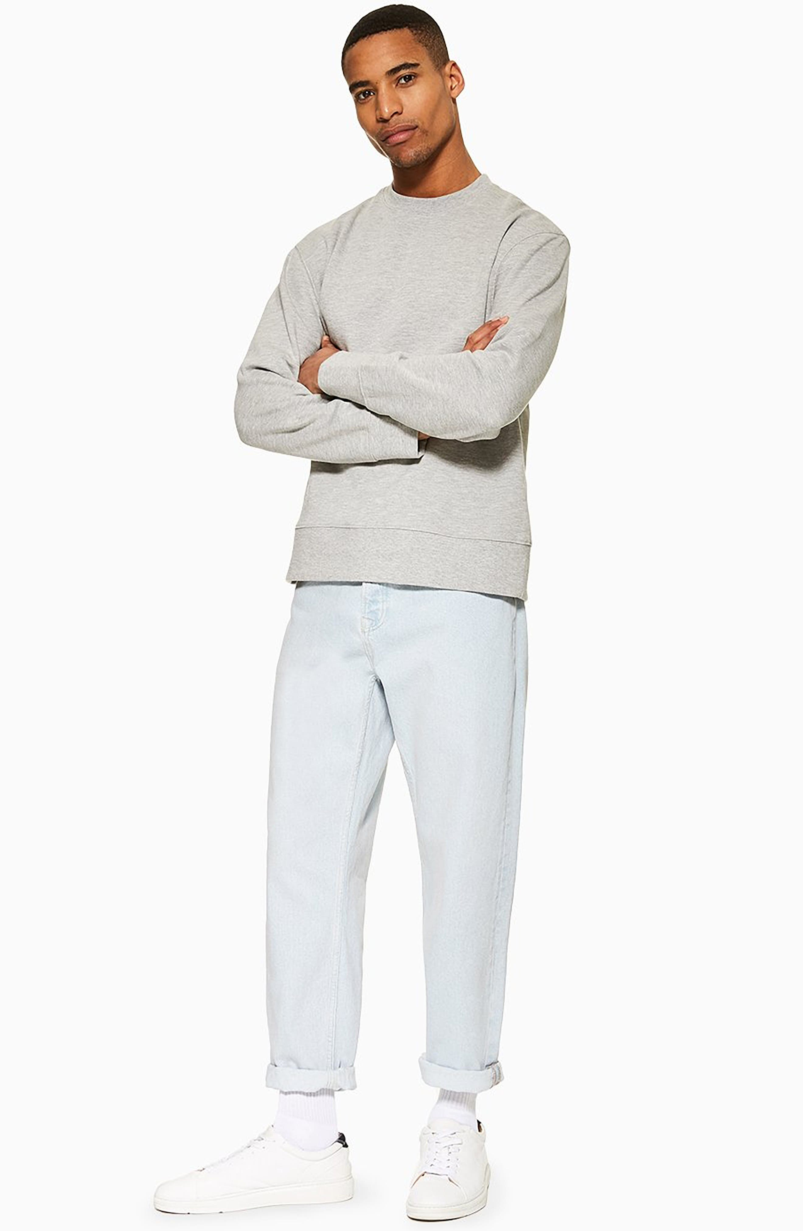 TOPMAN,                             Tapered Fit Jeans,                             Alternate thumbnail 5, color,                             BLUE