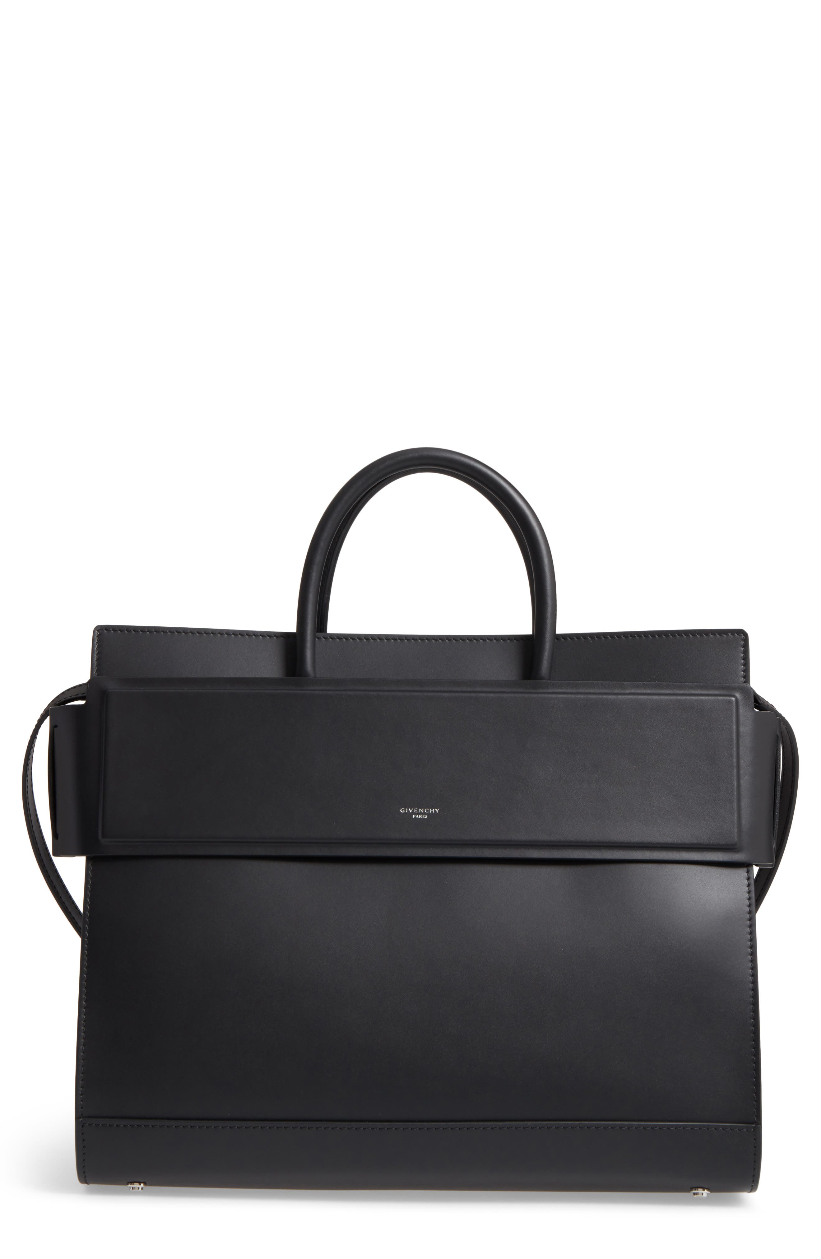 Horizon Calfskin Leather Tote,                         Main,                         color, BLACK