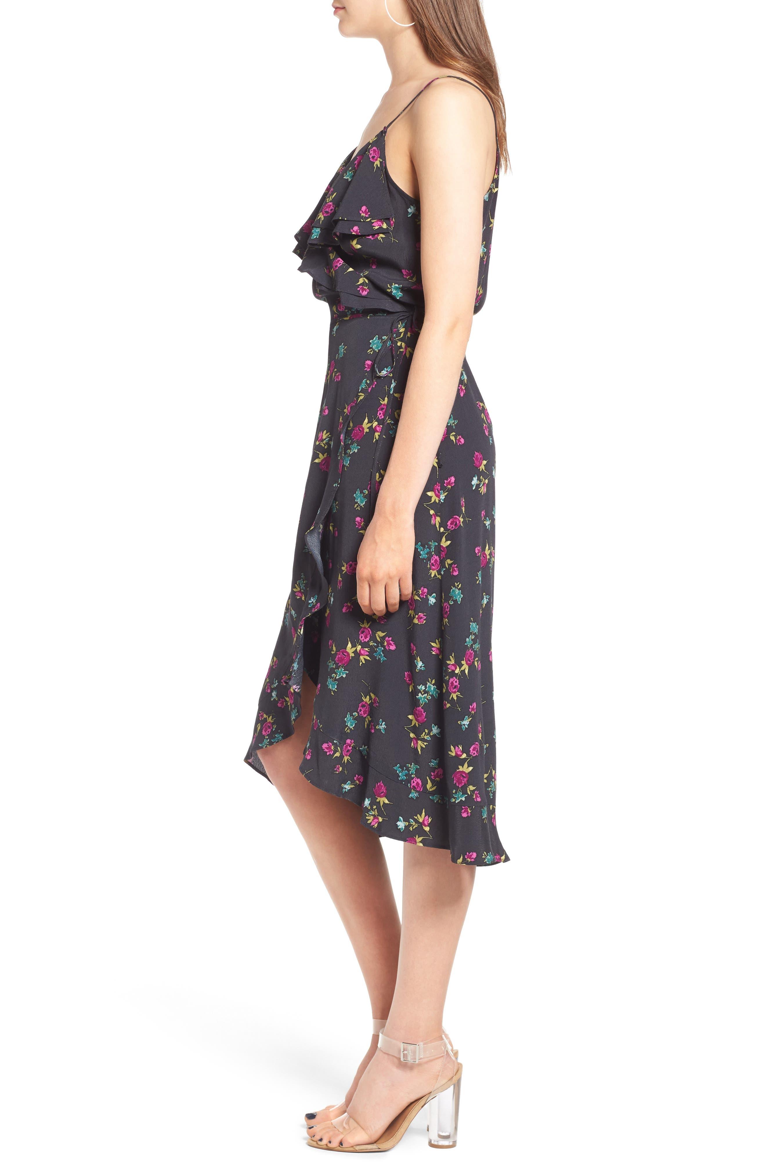 Flounce Wrap Midi Dress,                             Alternate thumbnail 12, color,