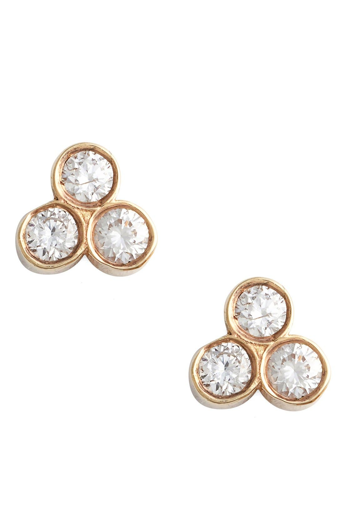 ZOË CHICCO,                             Diamond Cluster Stud Earrings,                             Main thumbnail 1, color,                             710
