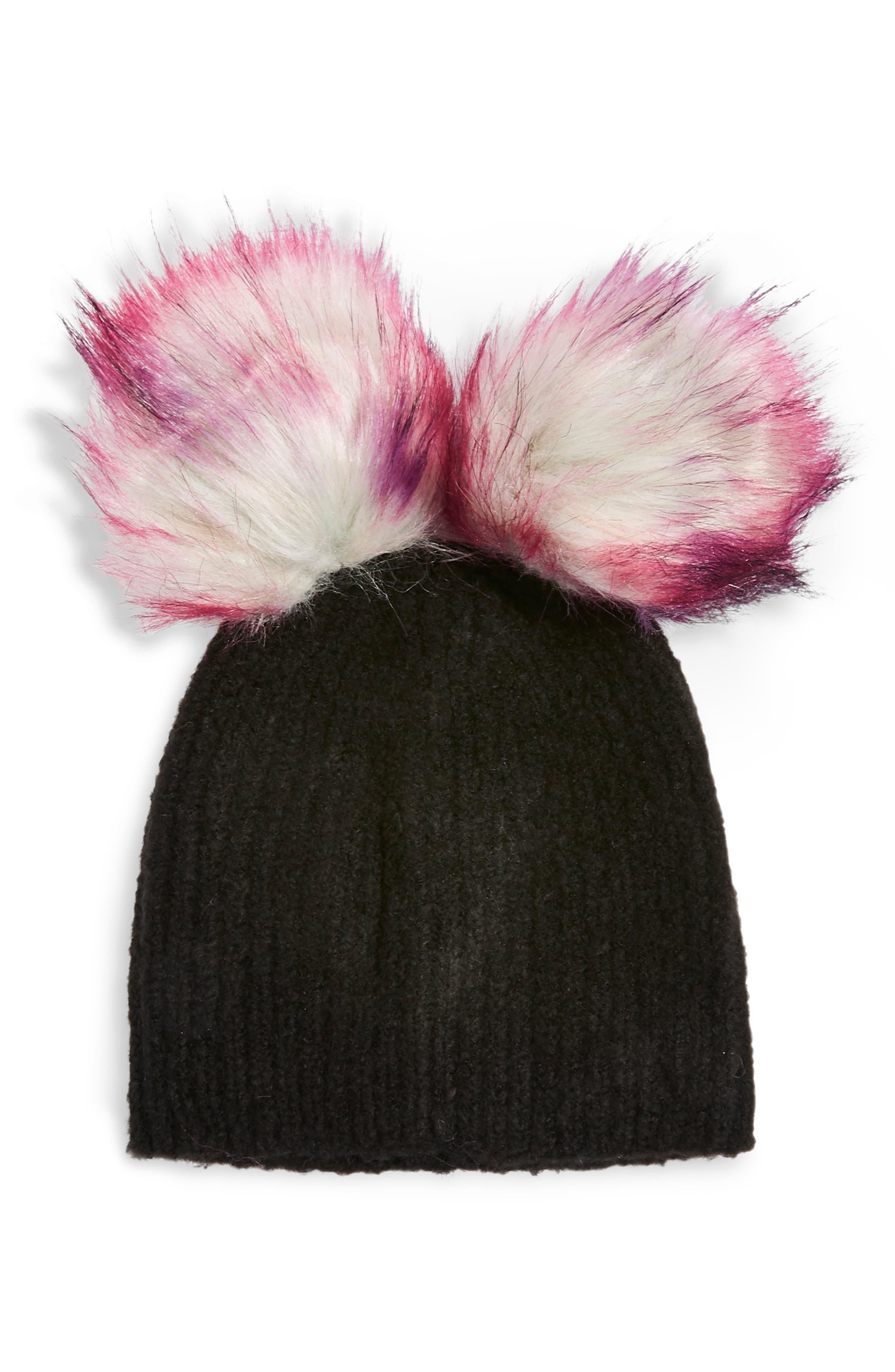 Faux Fur Double Pompom Beanie,                             Main thumbnail 1, color,                             BLACK MULTI