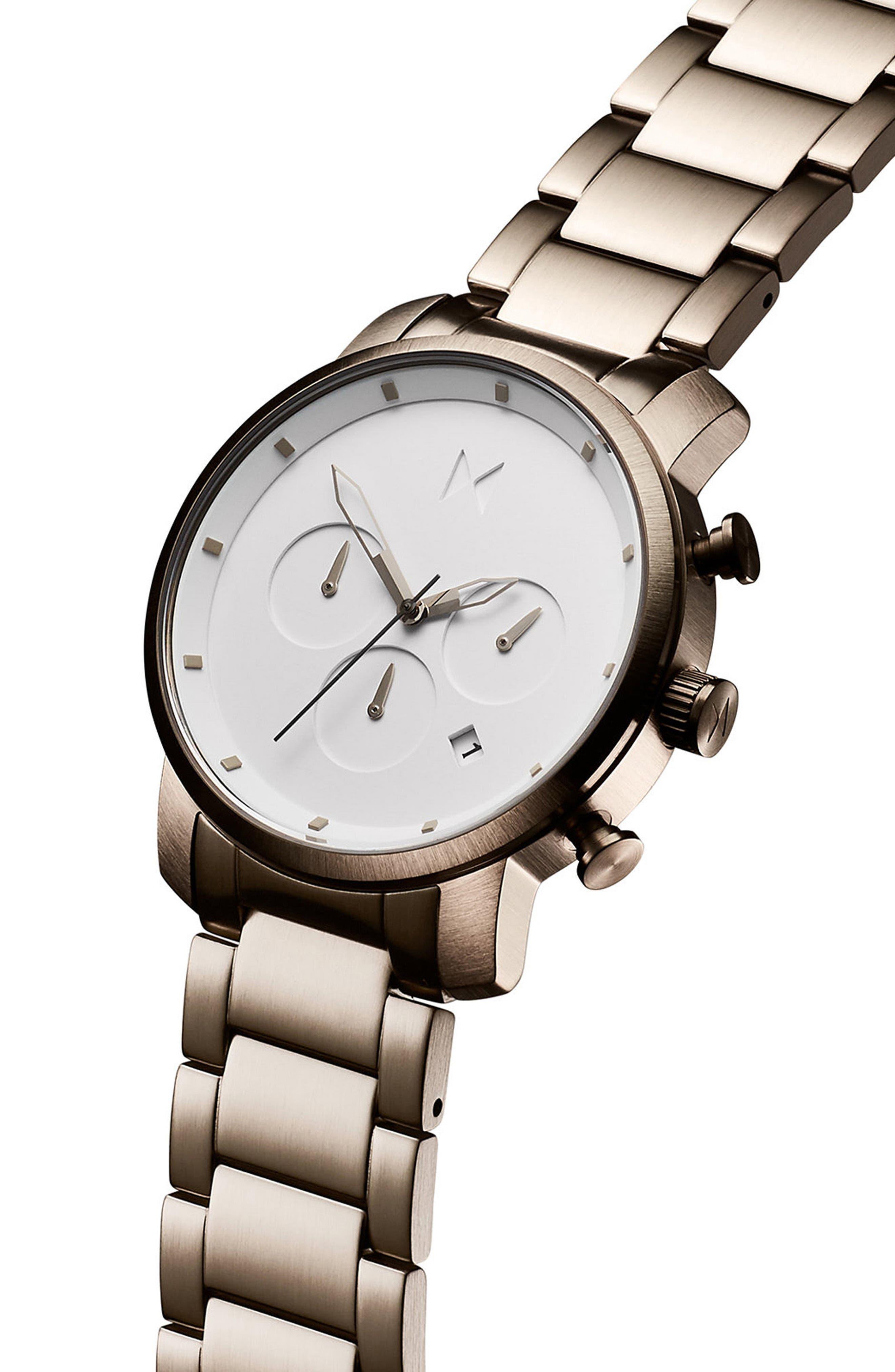 Chrono Chronograph Bracelet Watch, 40mm,                             Alternate thumbnail 3, color,                             WHITE/ GUNMETAL