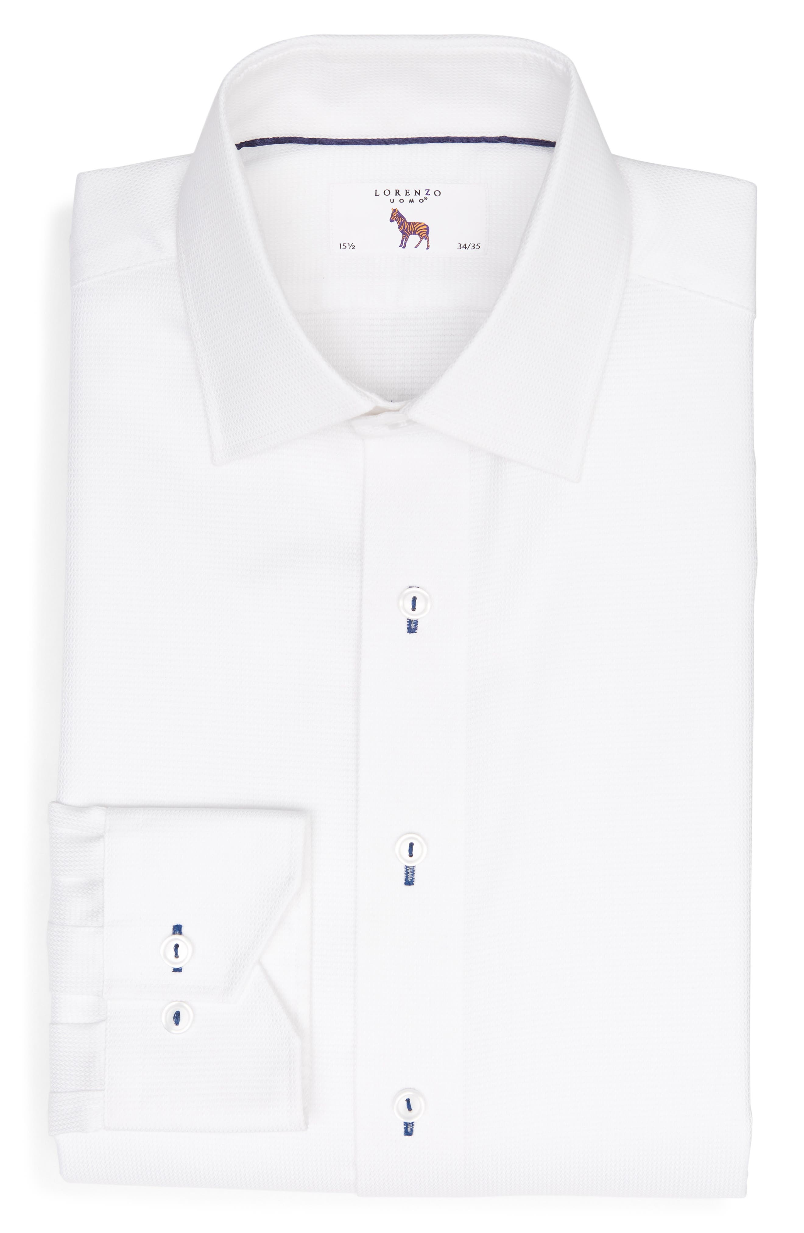 Trim Fit Solid Dress Shirt,                             Alternate thumbnail 5, color,                             WHITE