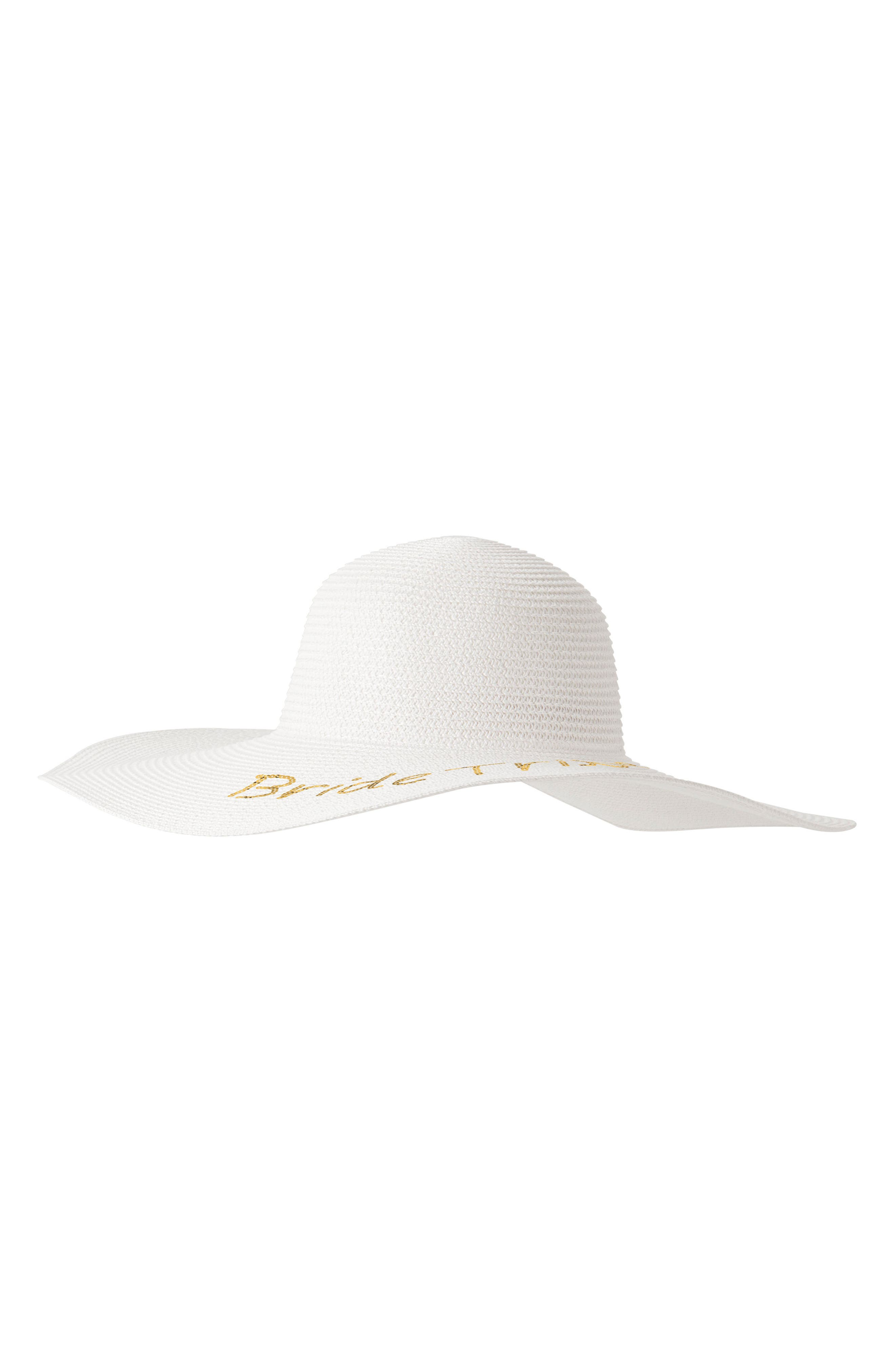 Sequin Bride Tribe Straw Hat,                         Main,                         color,