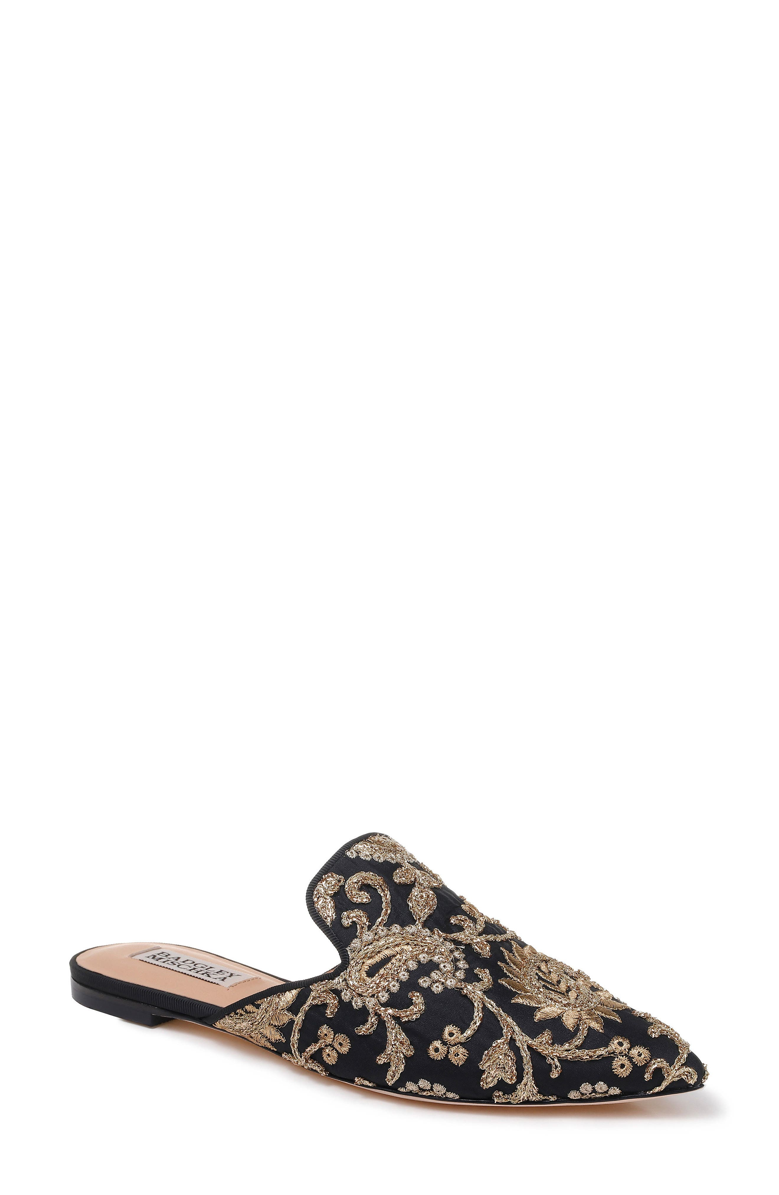 Phoebe Embroidered Mule,                         Main,                         color, BLACK FABRIC
