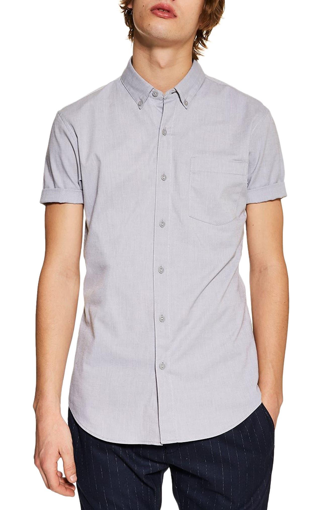 TOPMAN,                             Muscle Fit Oxford Shirt,                             Main thumbnail 1, color,                             GREY