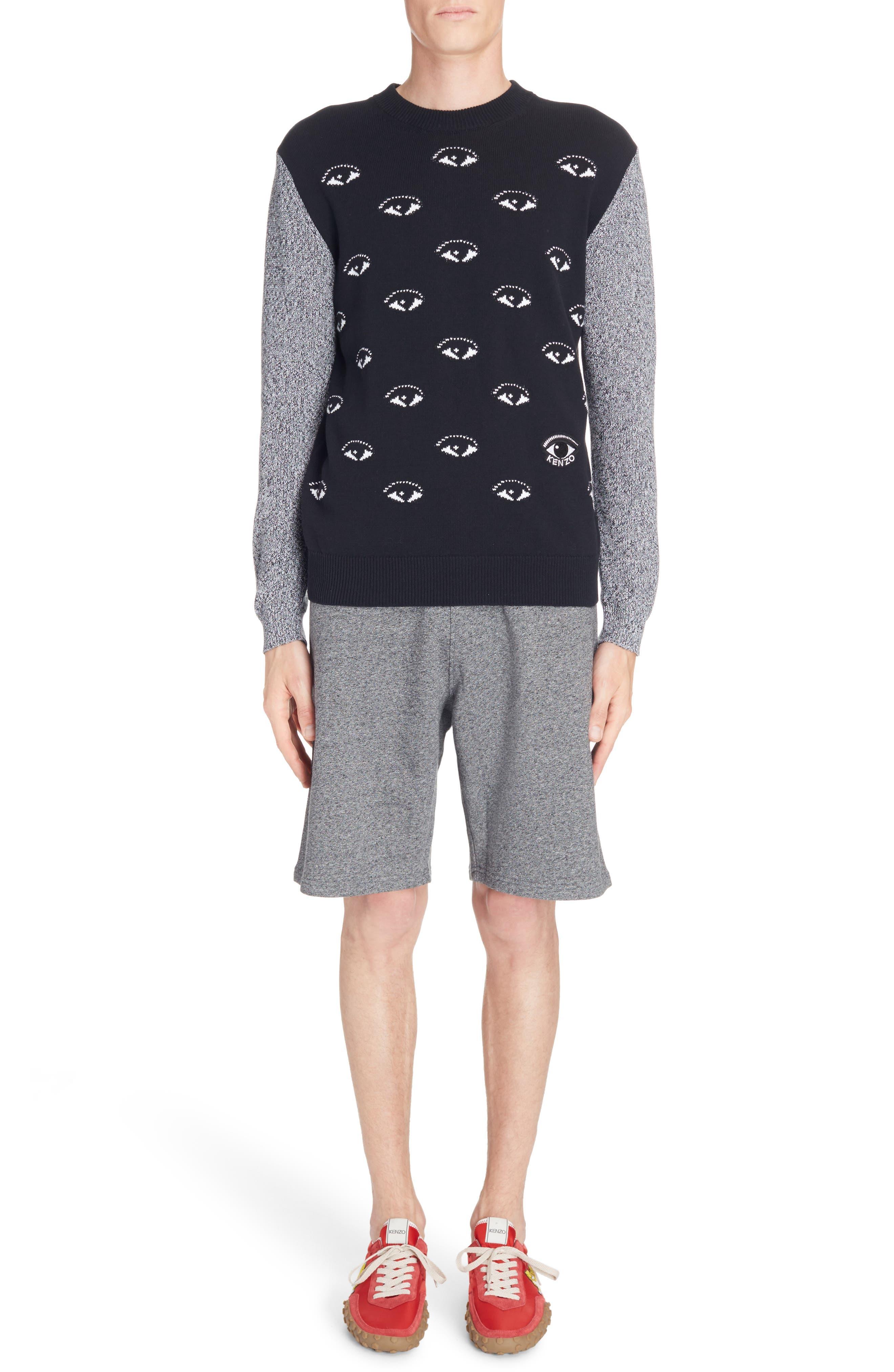All Eyes Print Crewneck Sweater,                         Main,                         color, 001