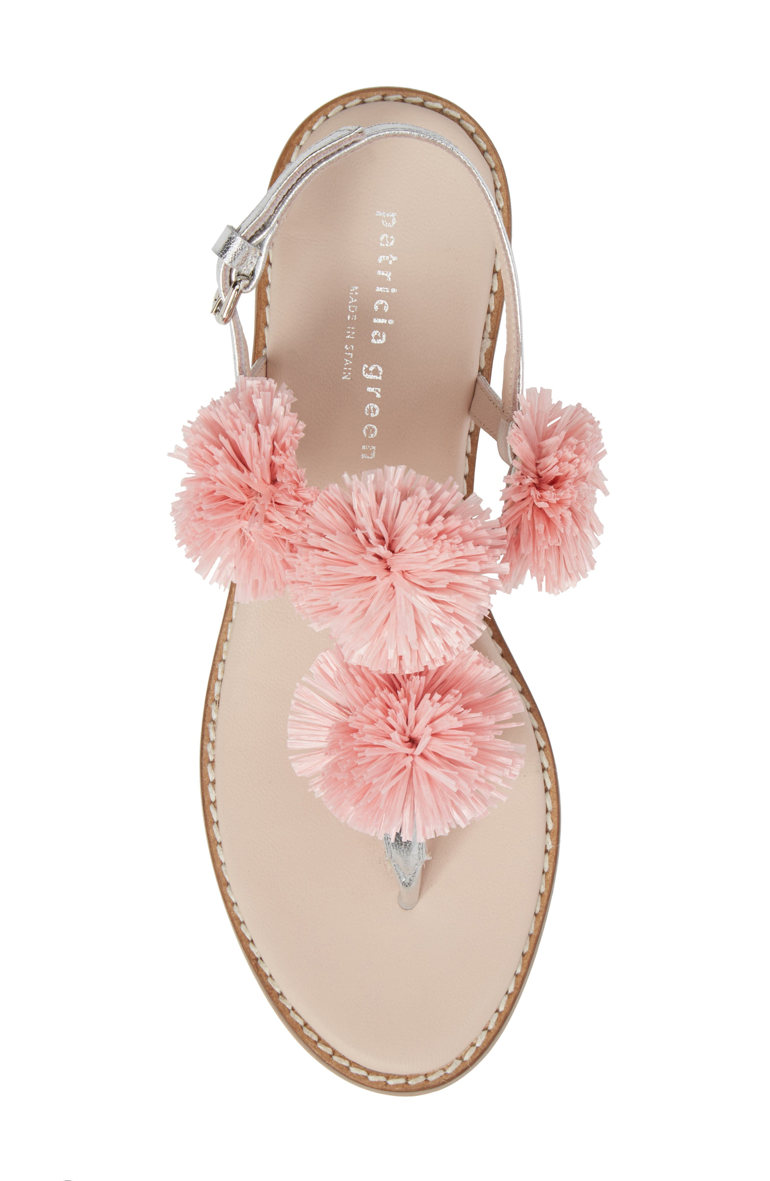 Pompom Thong Sandal,                             Alternate thumbnail 5, color,                             PINK LEATHER
