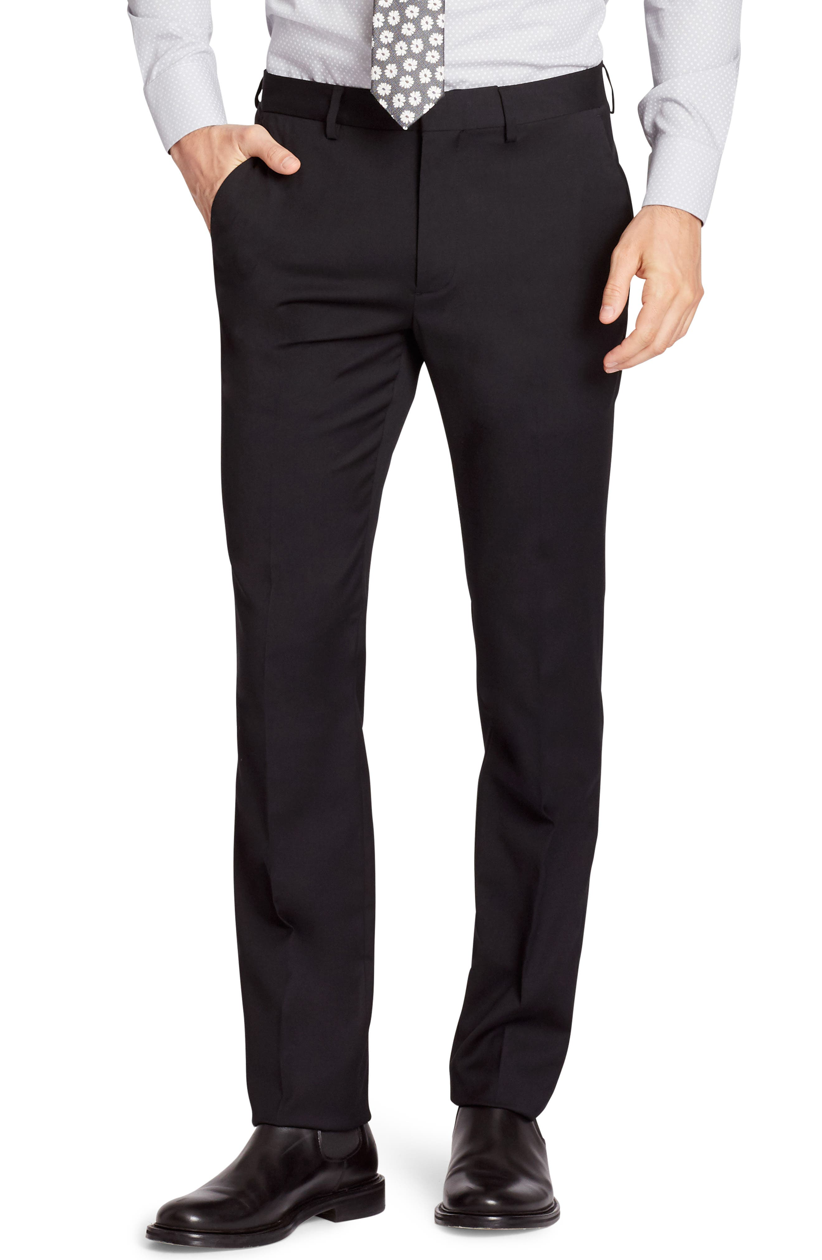 Jetsetter Slim Fit Flat Front Stretch Wool Trousers,                             Main thumbnail 1, color,                             BLACK