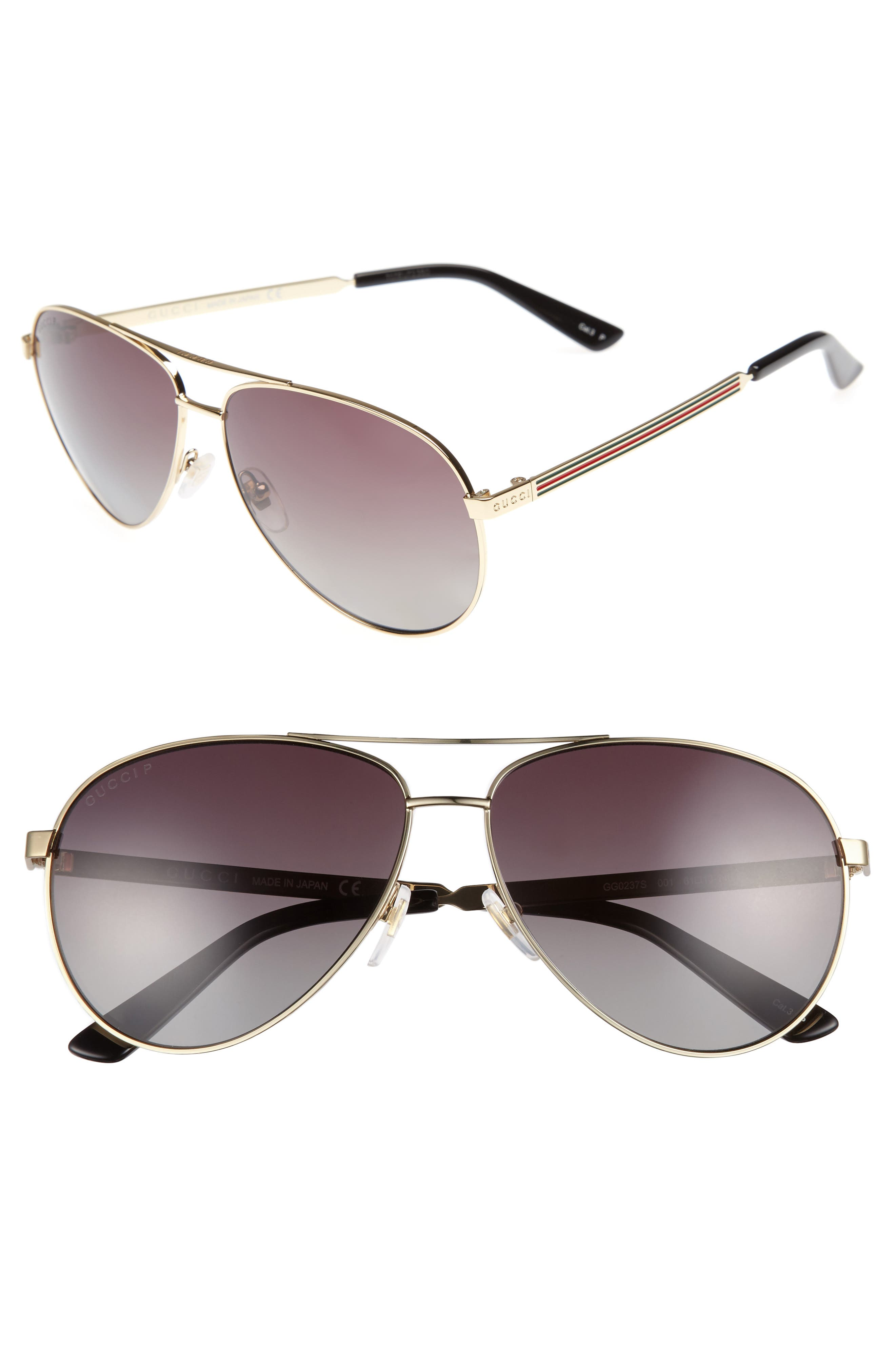 61mm Polarized Aviator Sunglasses,                             Main thumbnail 1, color,                             710