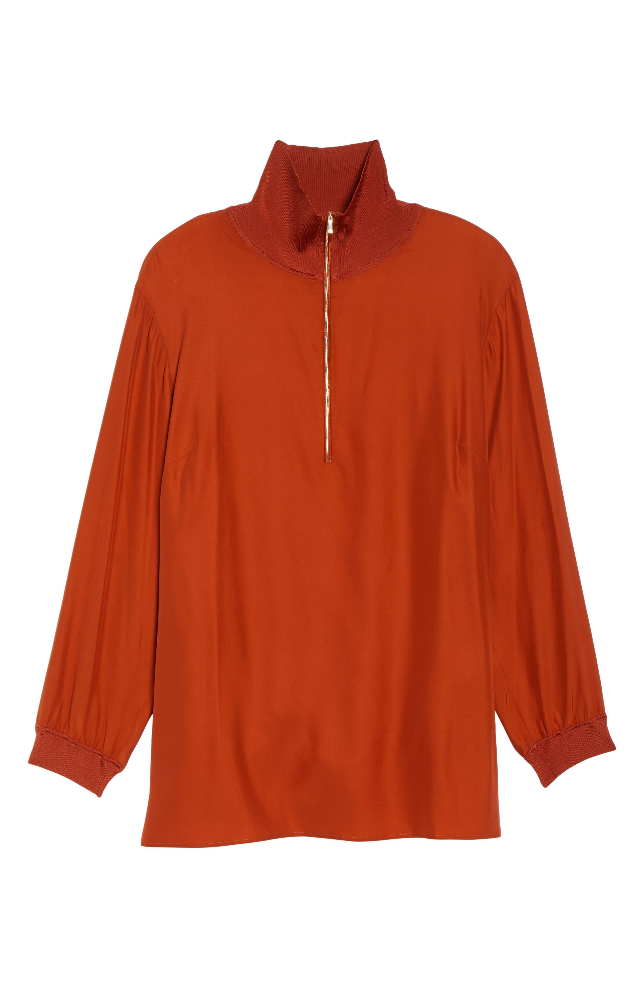 Lafayette Daryn V-Neck Zip Silk Blouse,                             Alternate thumbnail 6, color,                             096
