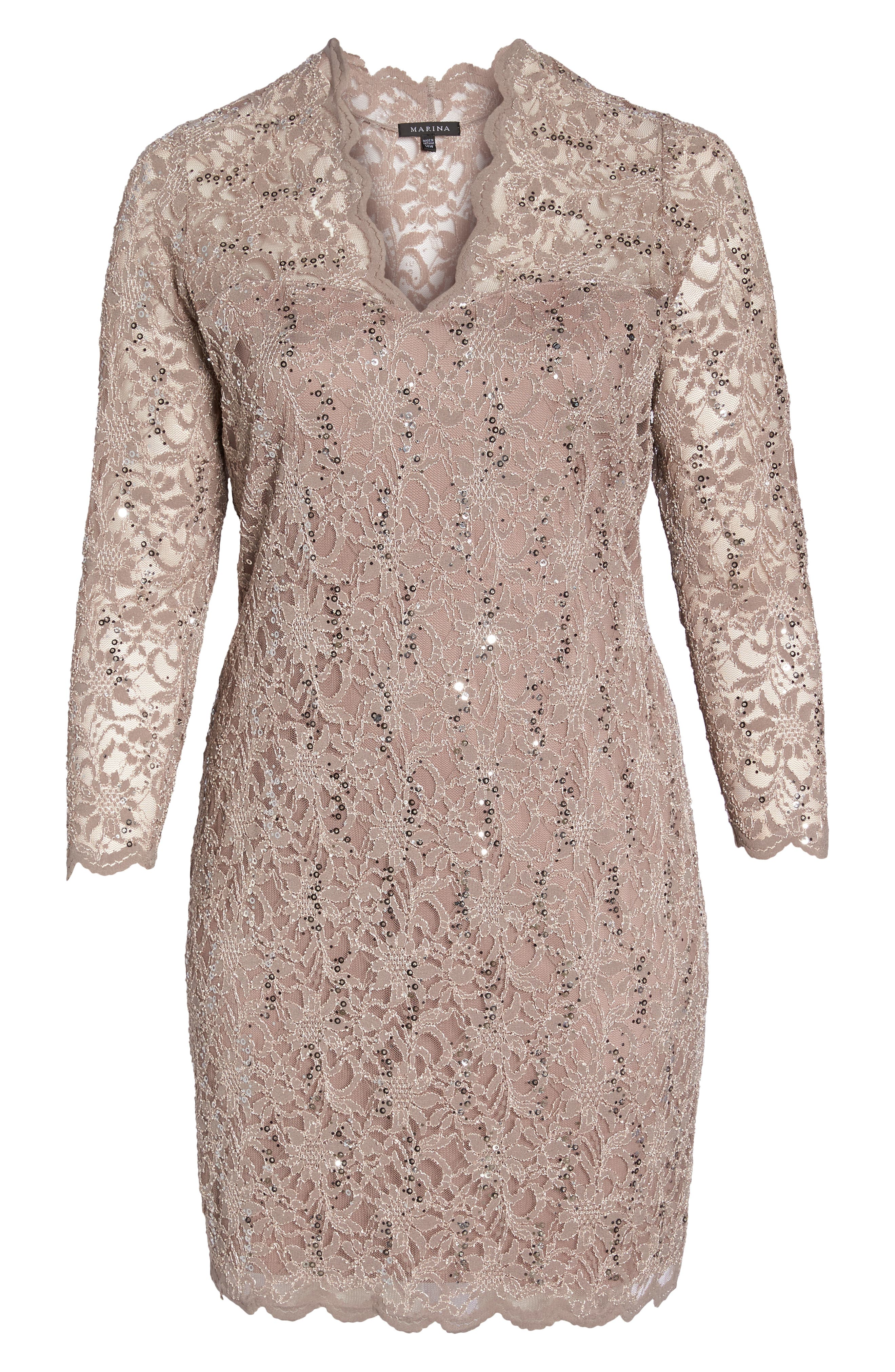 Sequin Stretch Lace Sheath Dress,                             Alternate thumbnail 6, color,                             TAUPE