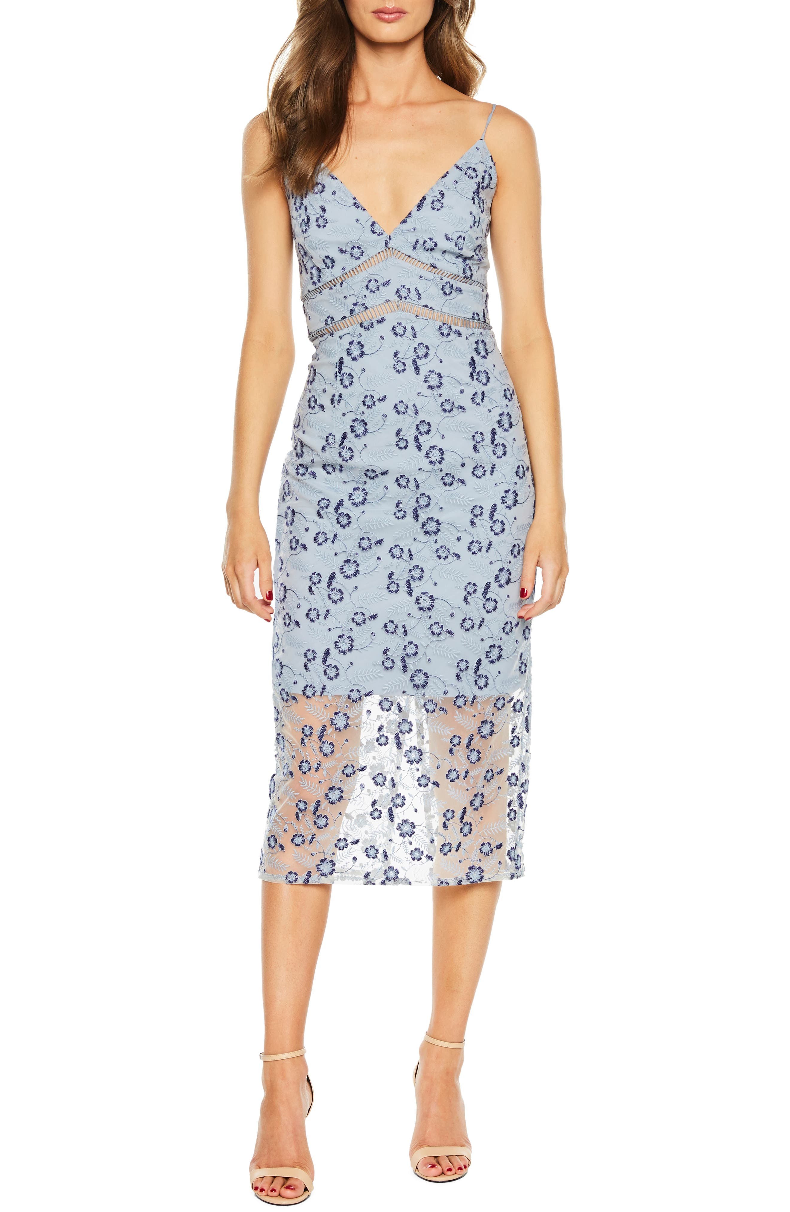 Sapphire Lace Midi Dress,                             Main thumbnail 1, color,                             DUSTY BLUE