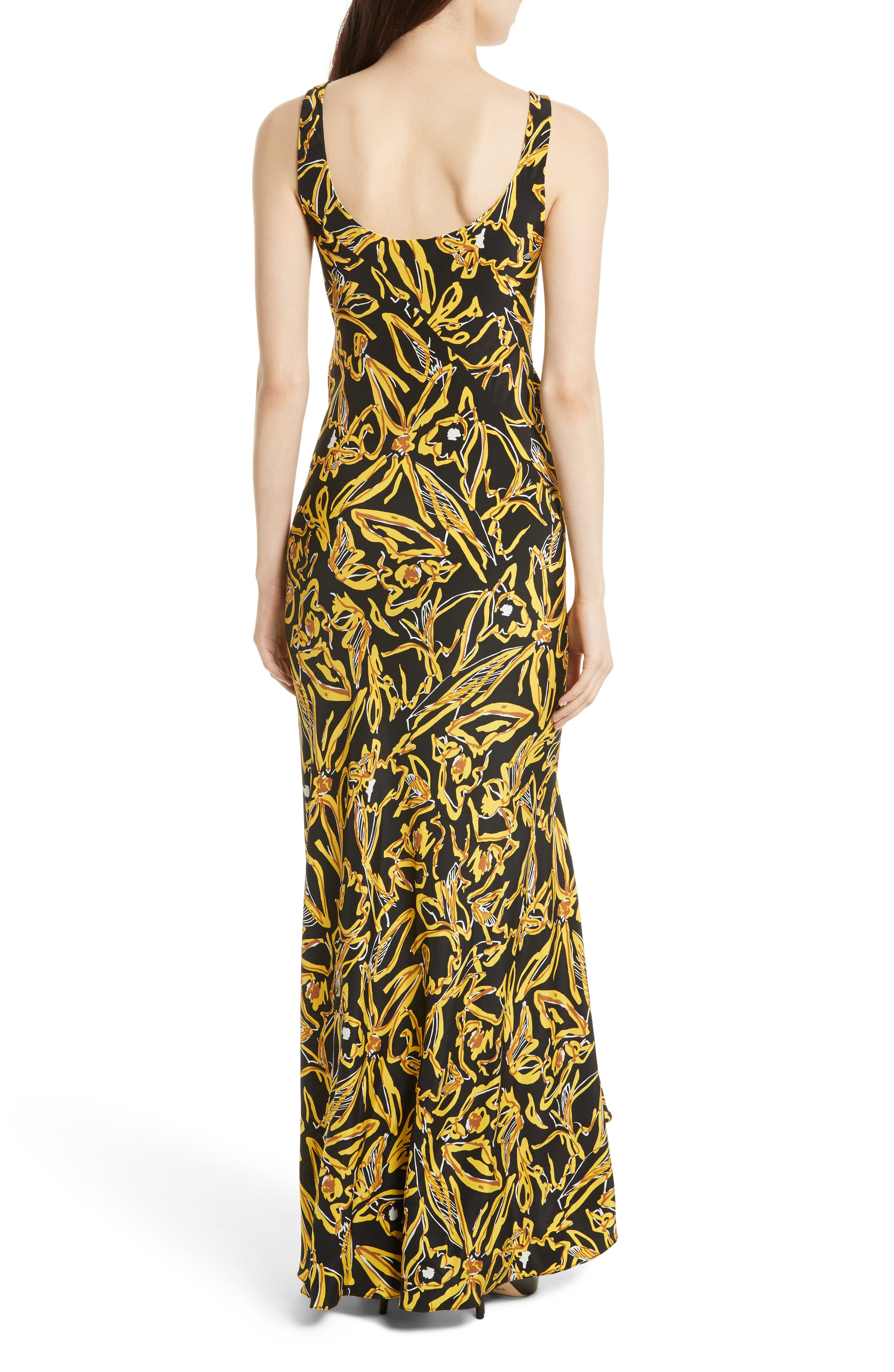Print Silk Bias Slip Gown,                             Alternate thumbnail 2, color,                             001