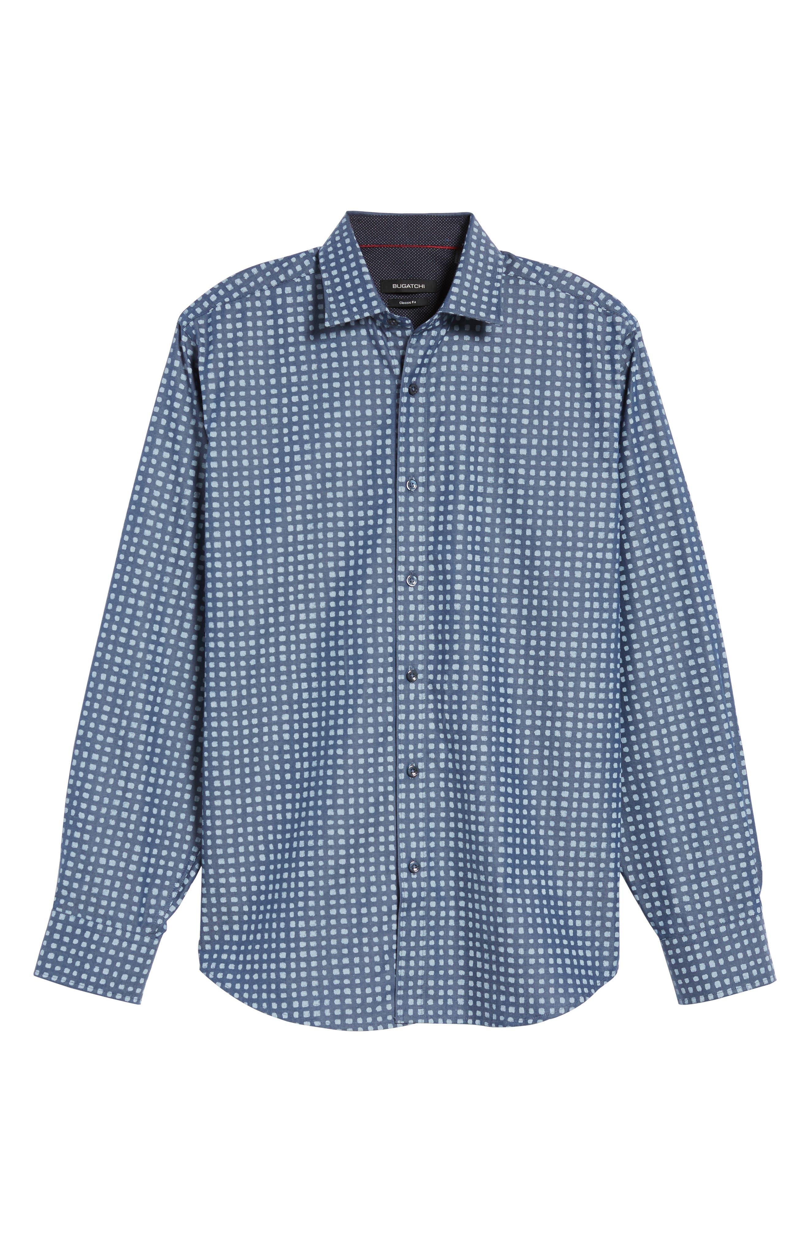 Classic Fit Dot Print Sport Shirt,                             Alternate thumbnail 6, color,                             411